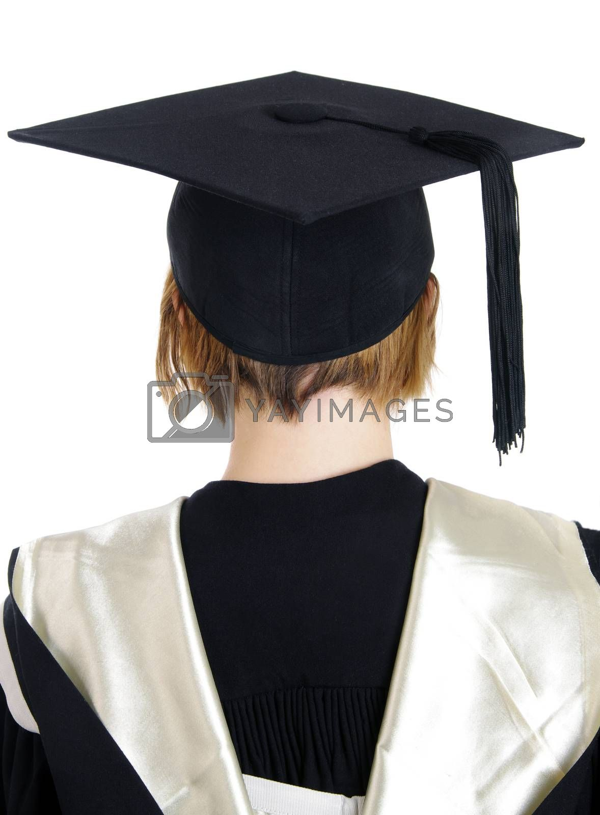 back of the girl with gaduation hat