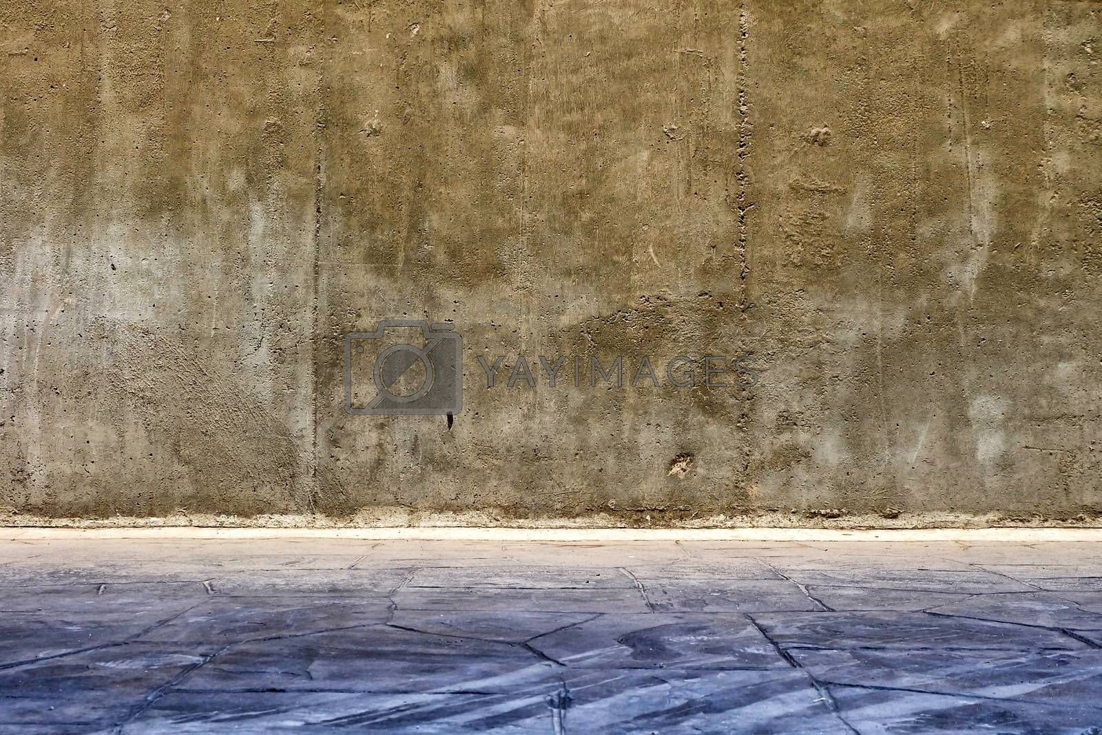 Concrete Wall with Pavement Background.