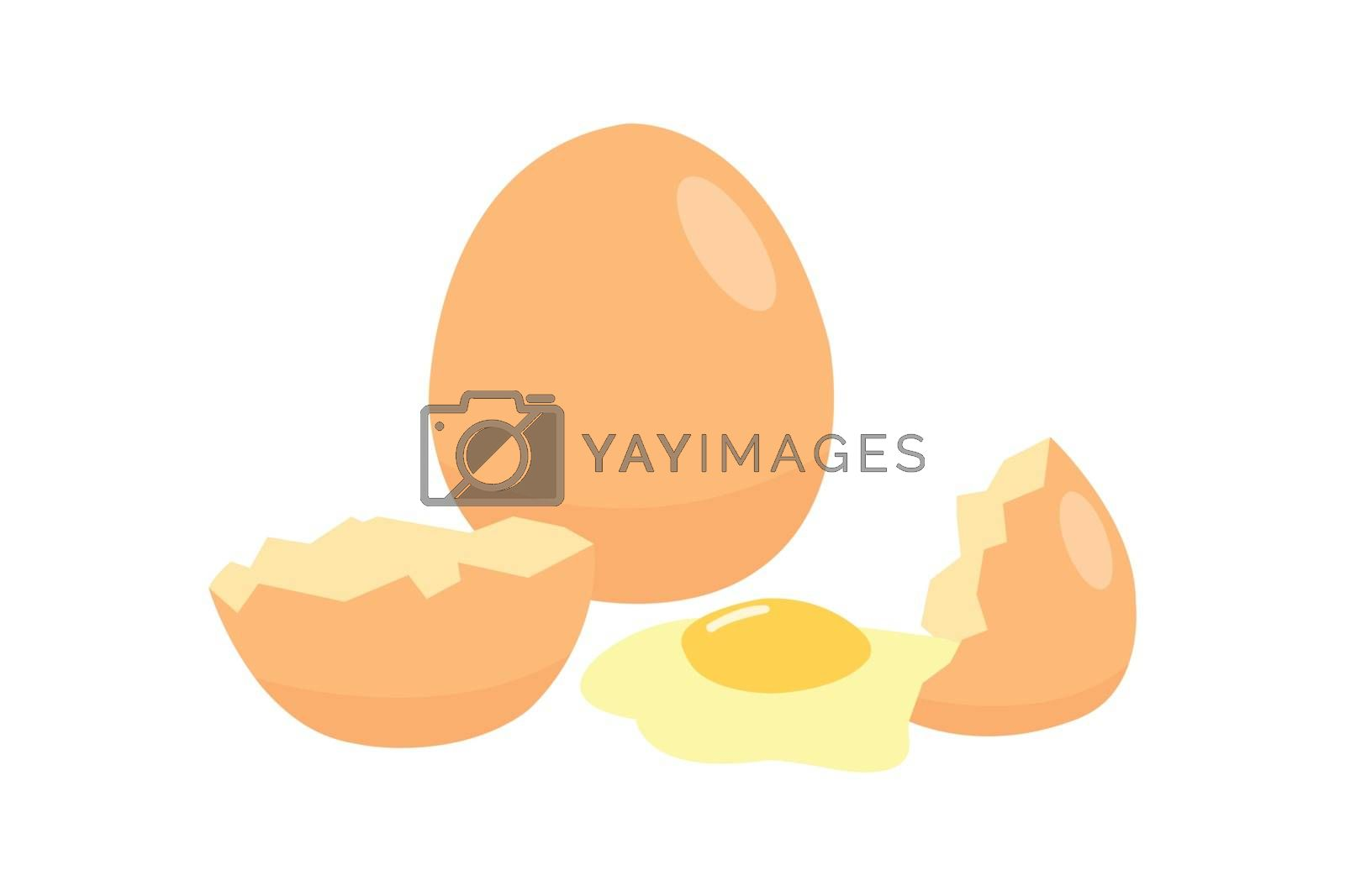 Eggs isolated on white background. Eggs are a cheap source of protein. Eggs and shells on white background.