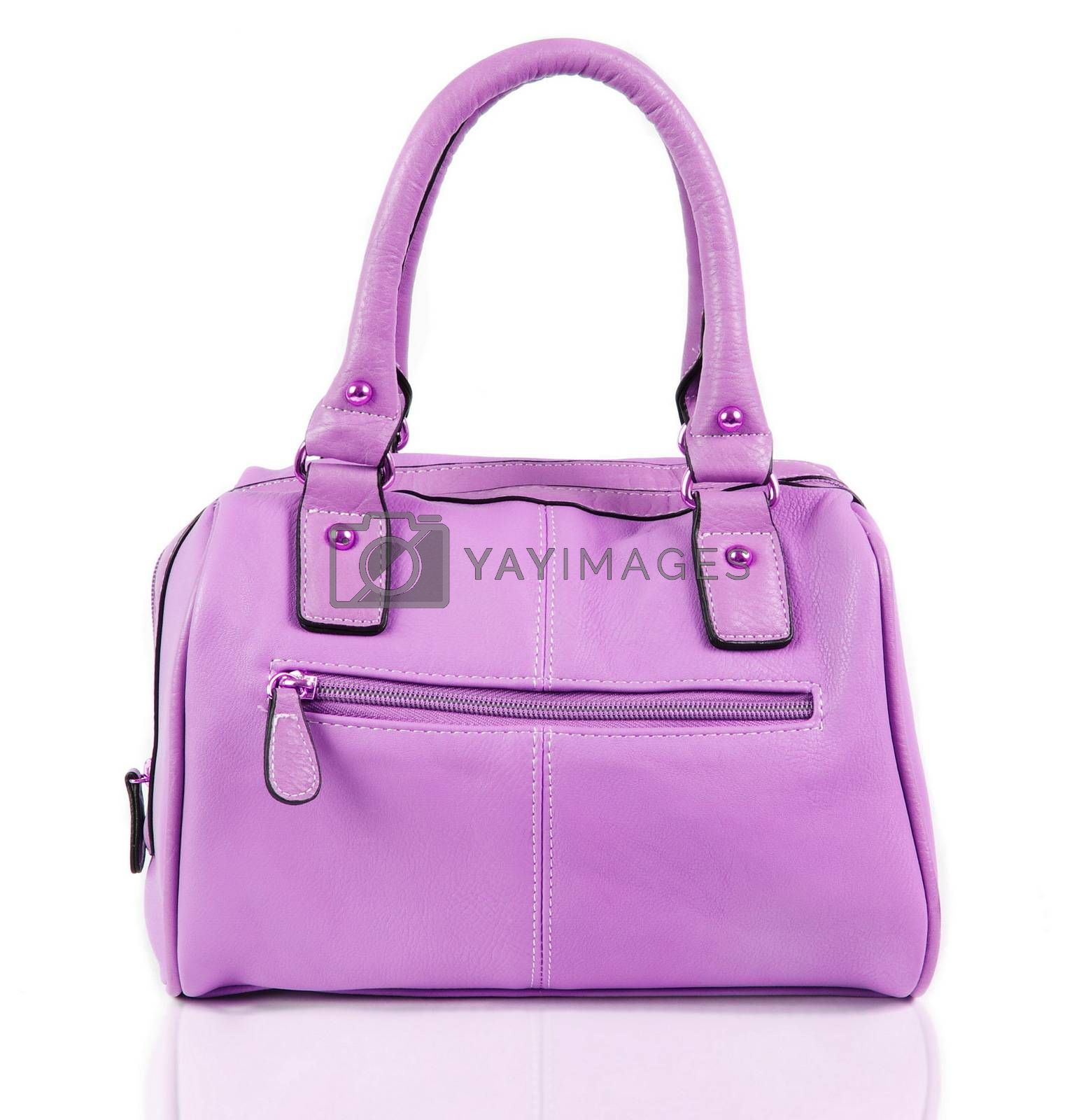 fashionable female bag over white