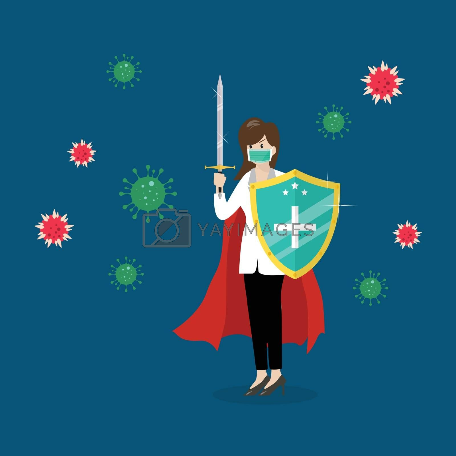 Shield protecting virus icons. Flat style vector illustration