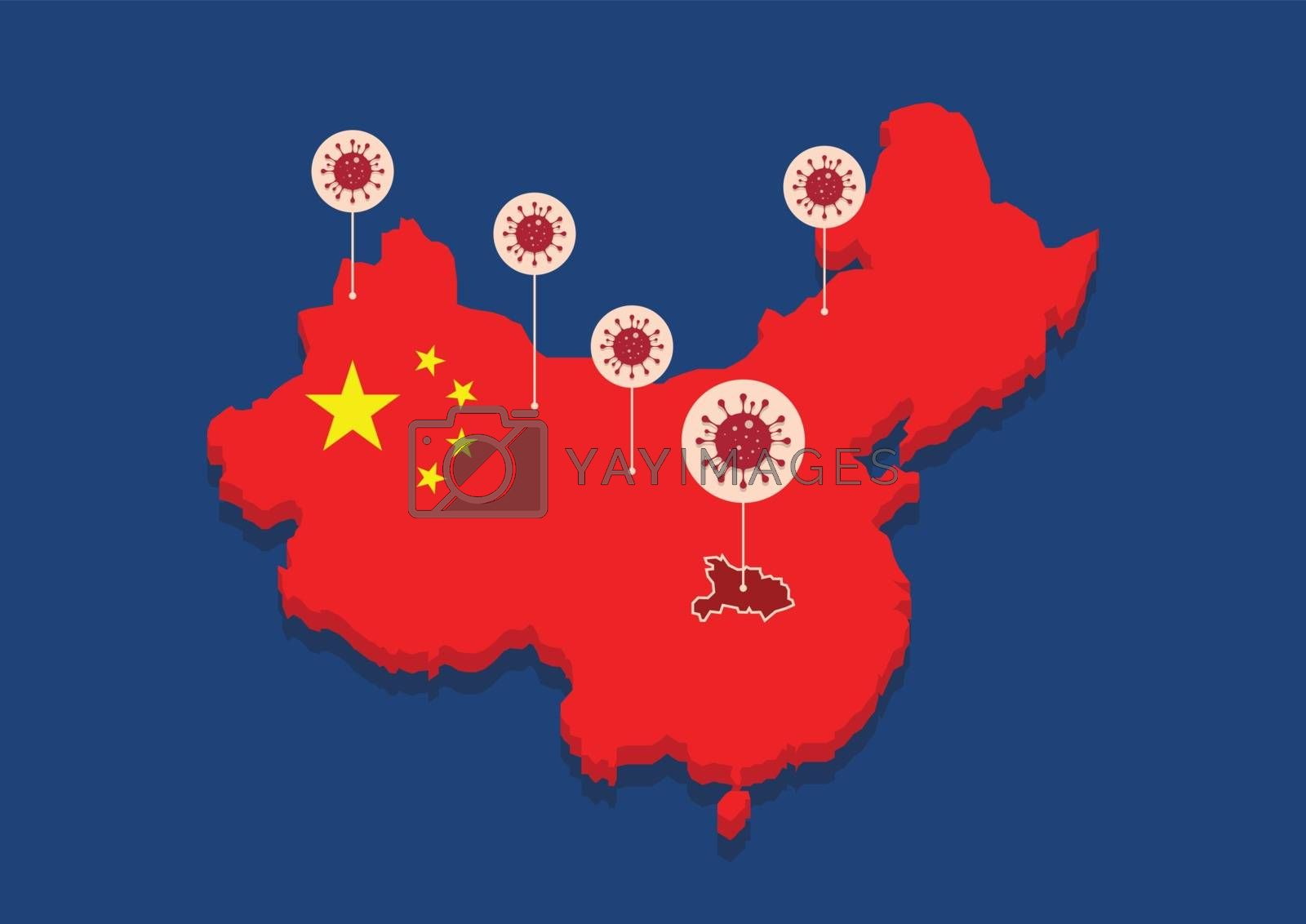 China map country coronavirus concept. Vector illustration