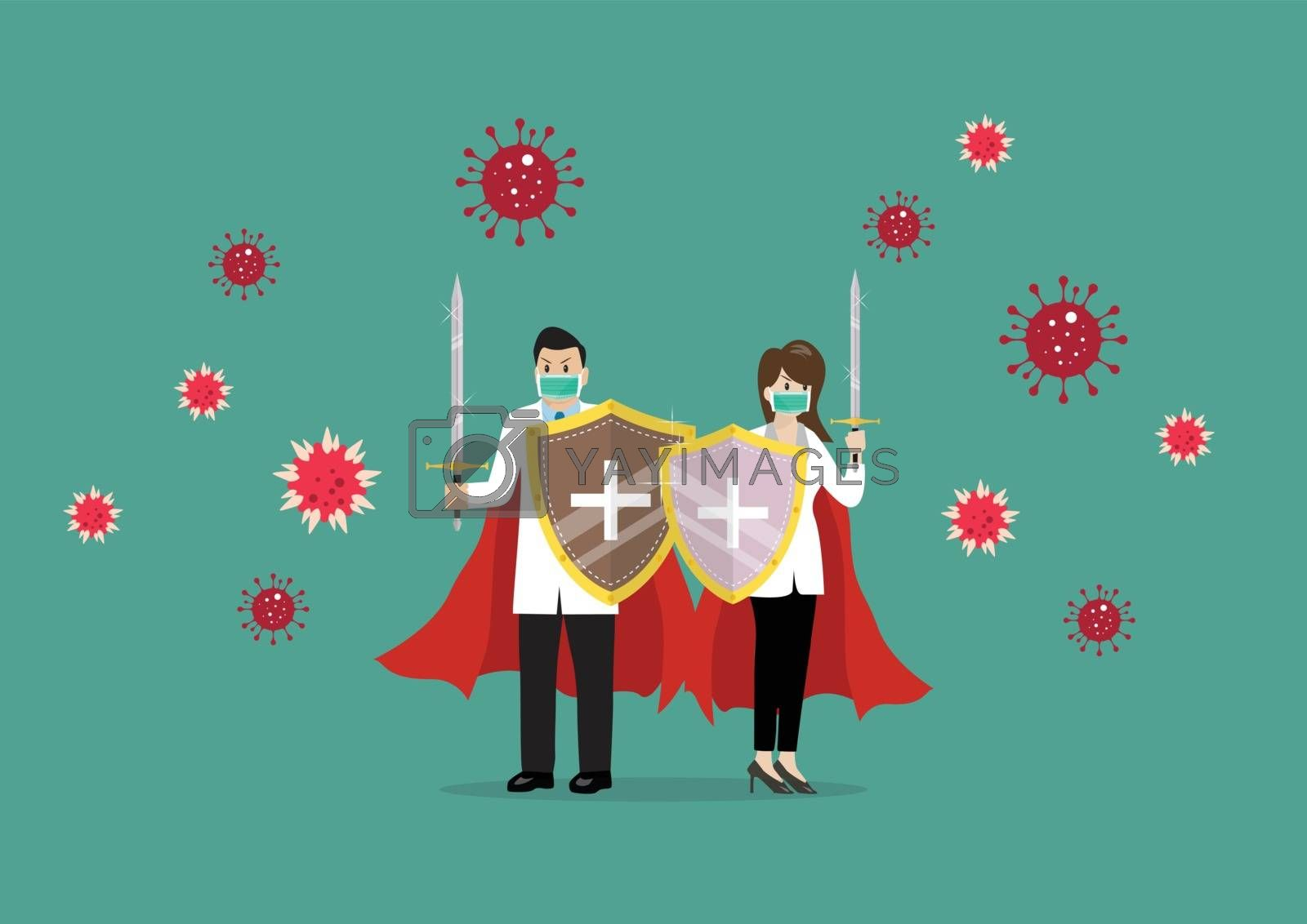 Doctors with shield sword prepare to fighting coronavirus. Vector Illustration
