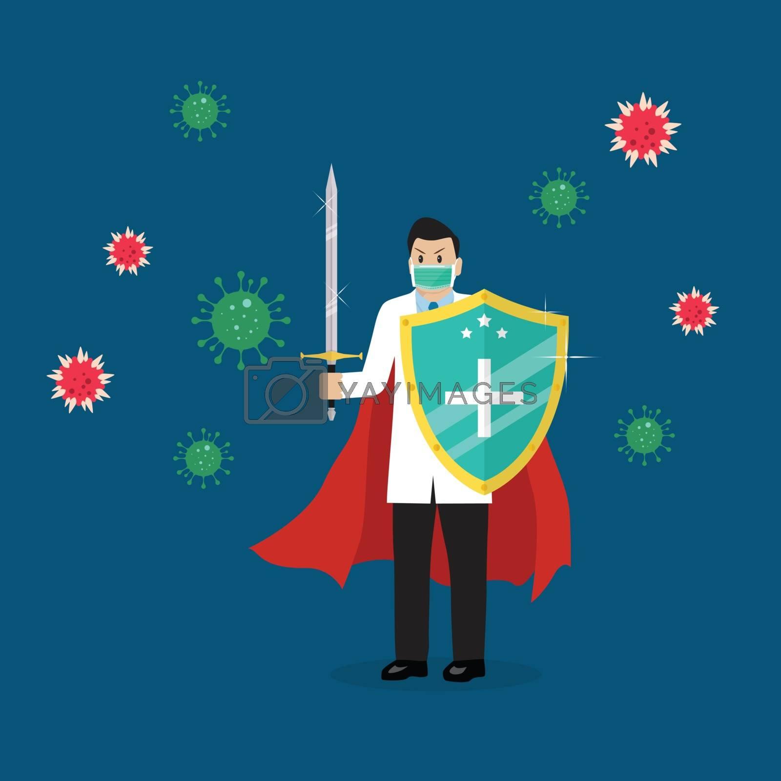 Shield protecting virus icons by siraanamwong