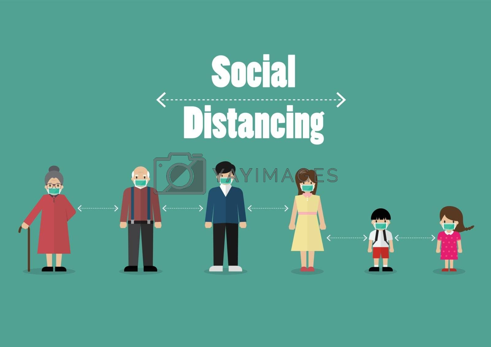 People keeping distance for infection risk and disease from coro by siraanamwong