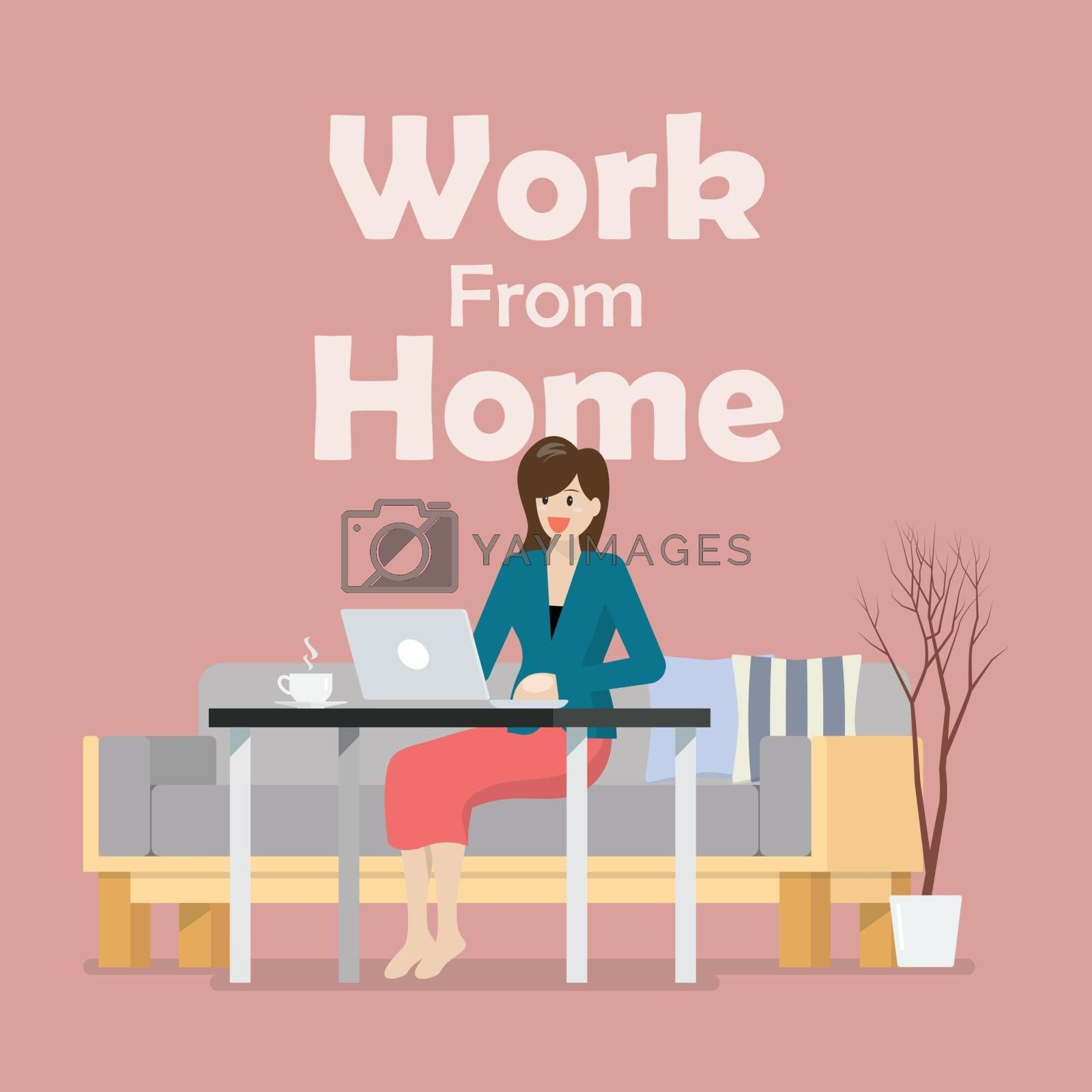 Woman working on a laptop from home. Coronavirus concept vector illustration
