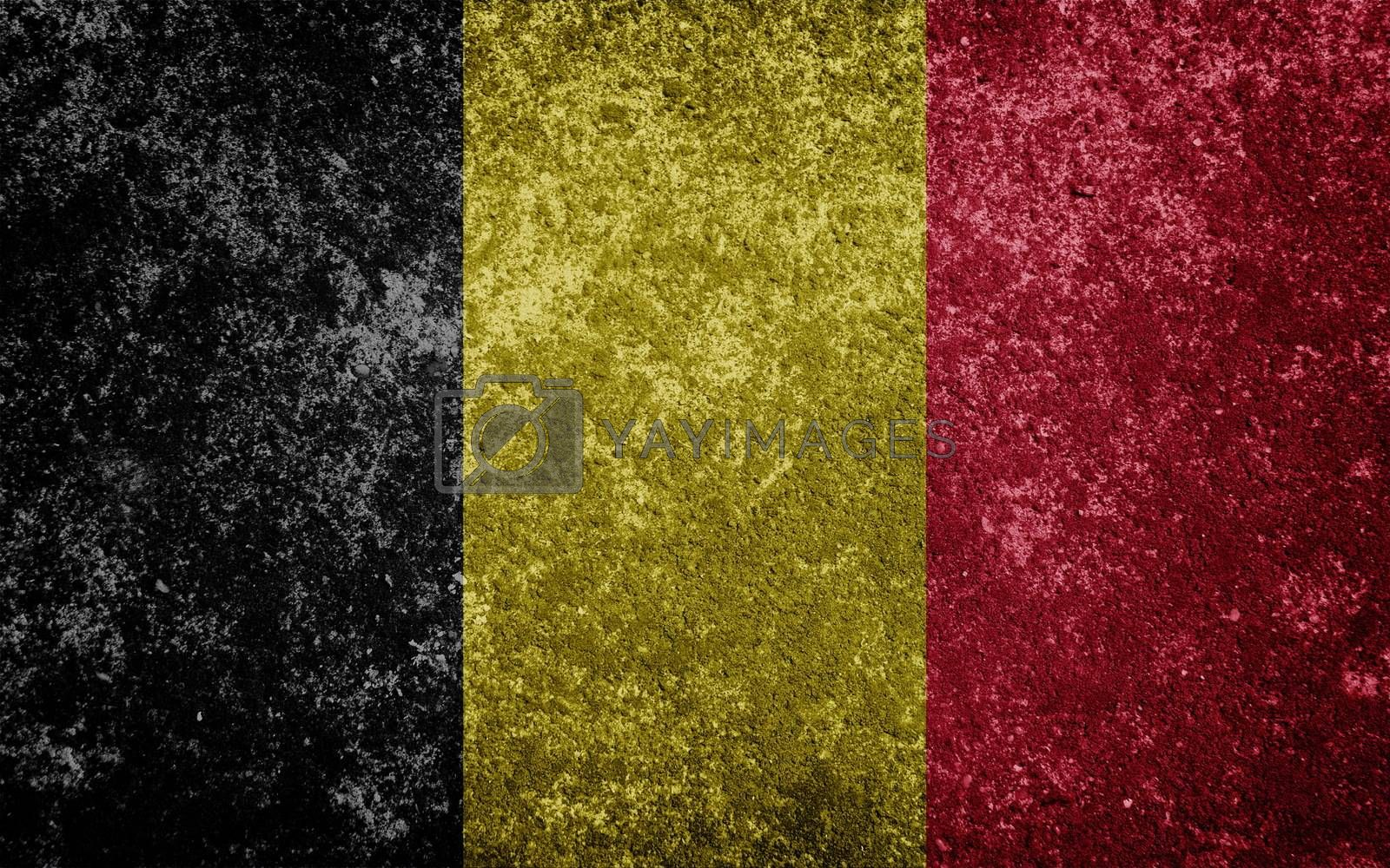 belgium flag painted on concete