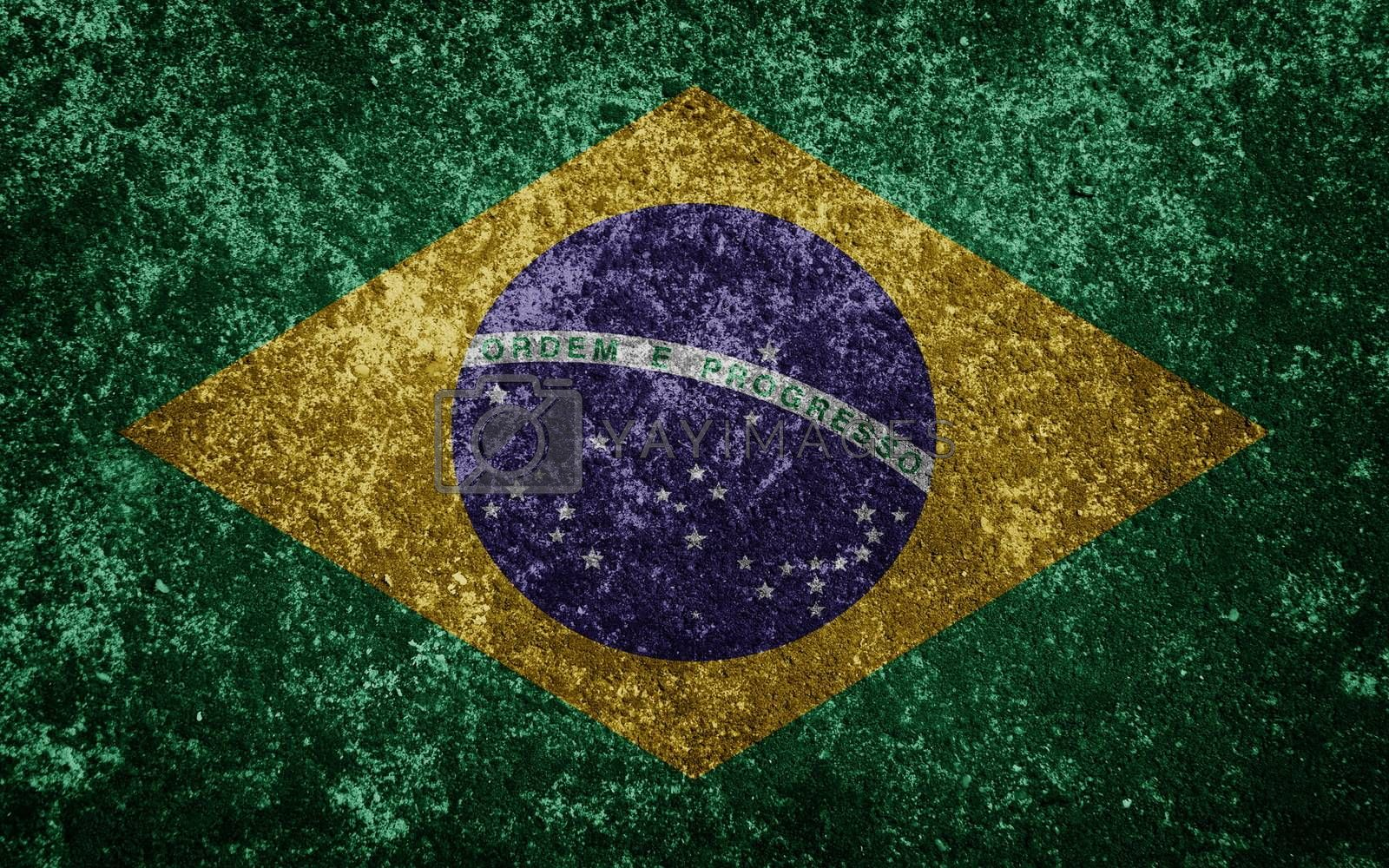 brazil flag painted on concete