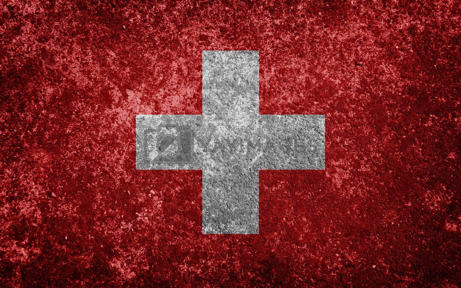 Switzerland flag painted on concrete