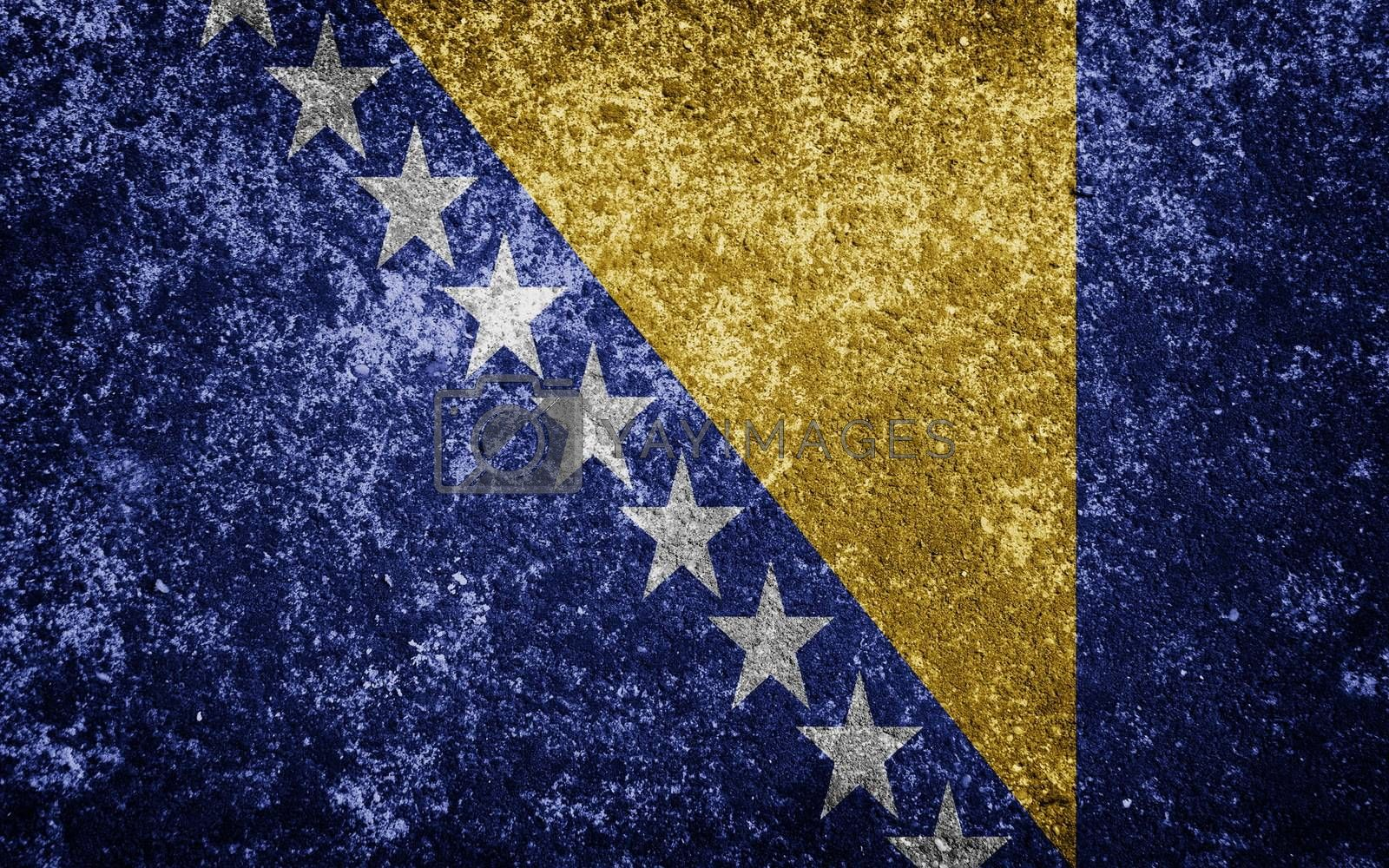 Bosnia flag painted on concete