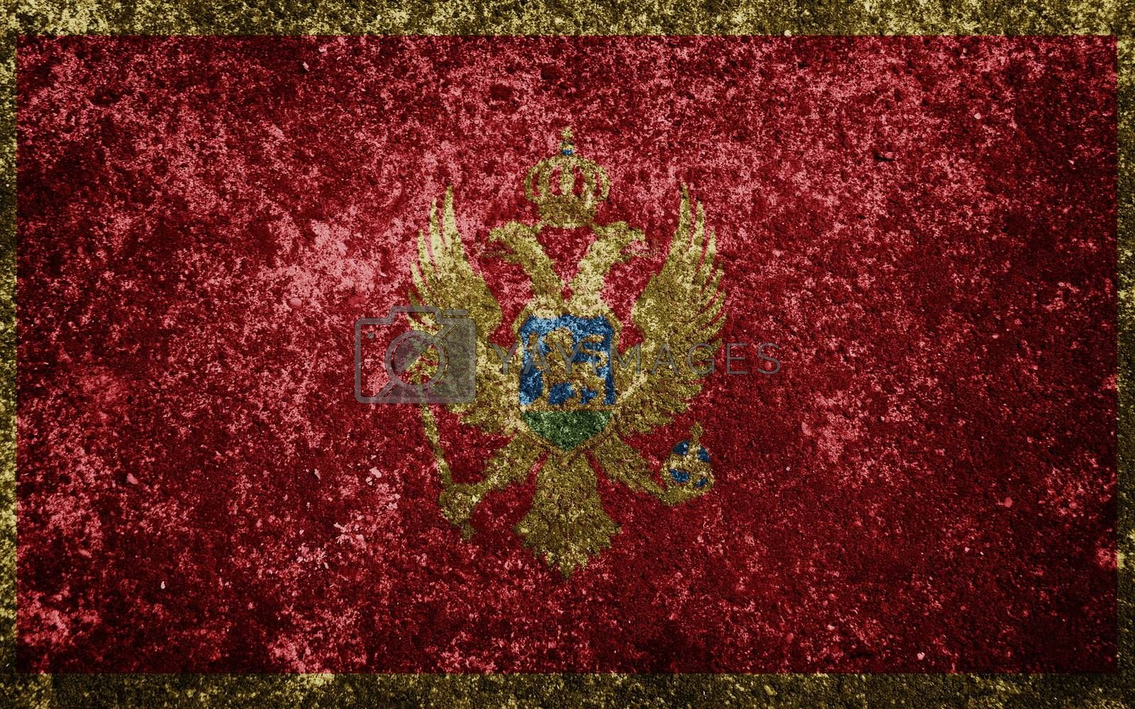 Montenegro flag painted on concrete