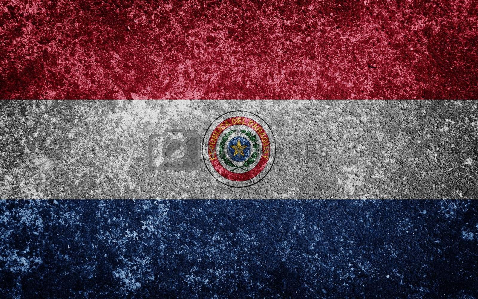 Paraguay flag painted on concrete