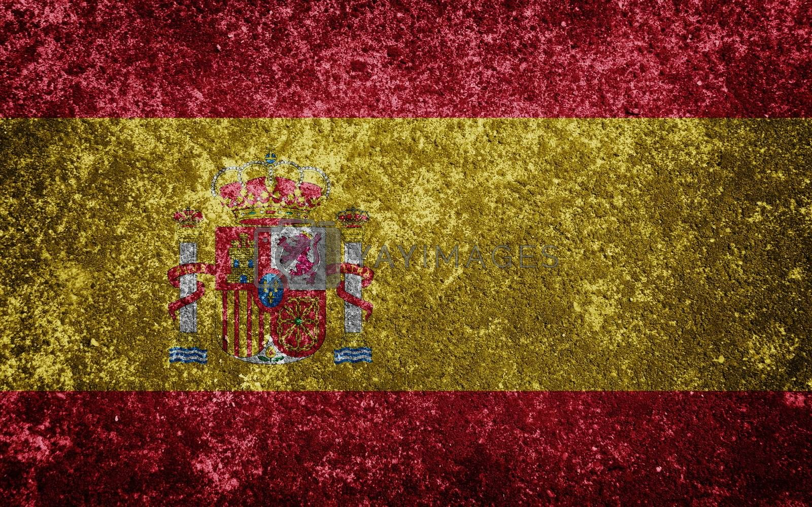 Spain flag painted on concrete