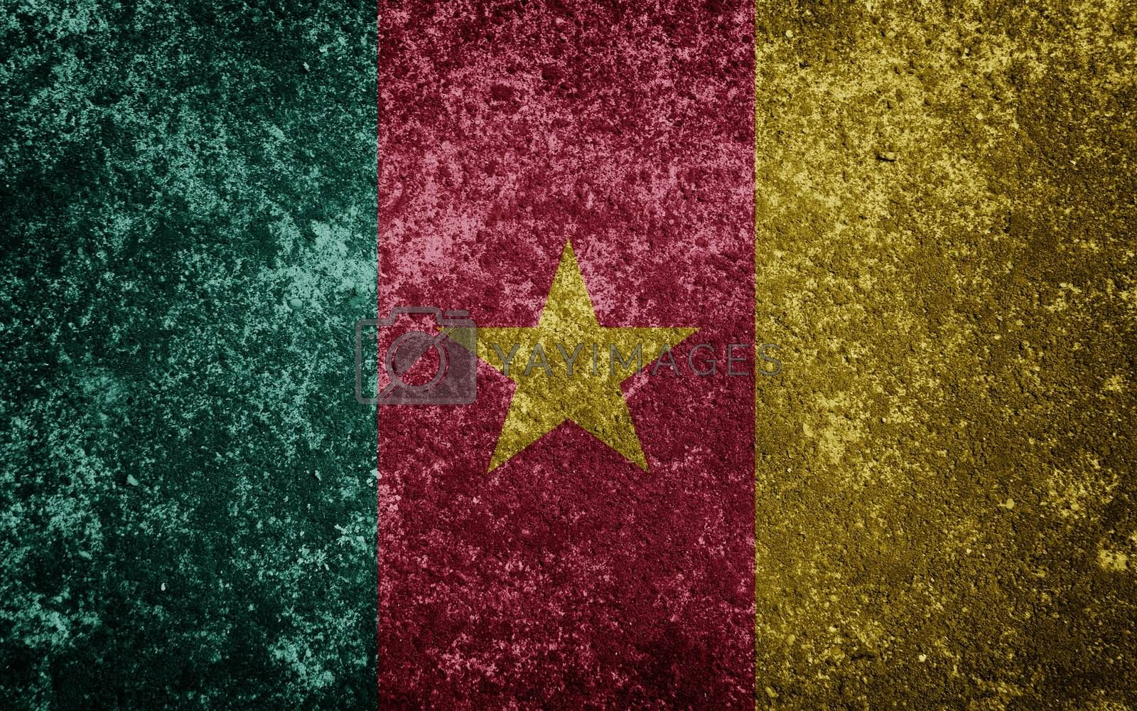 Cameroon flag painted on concrete