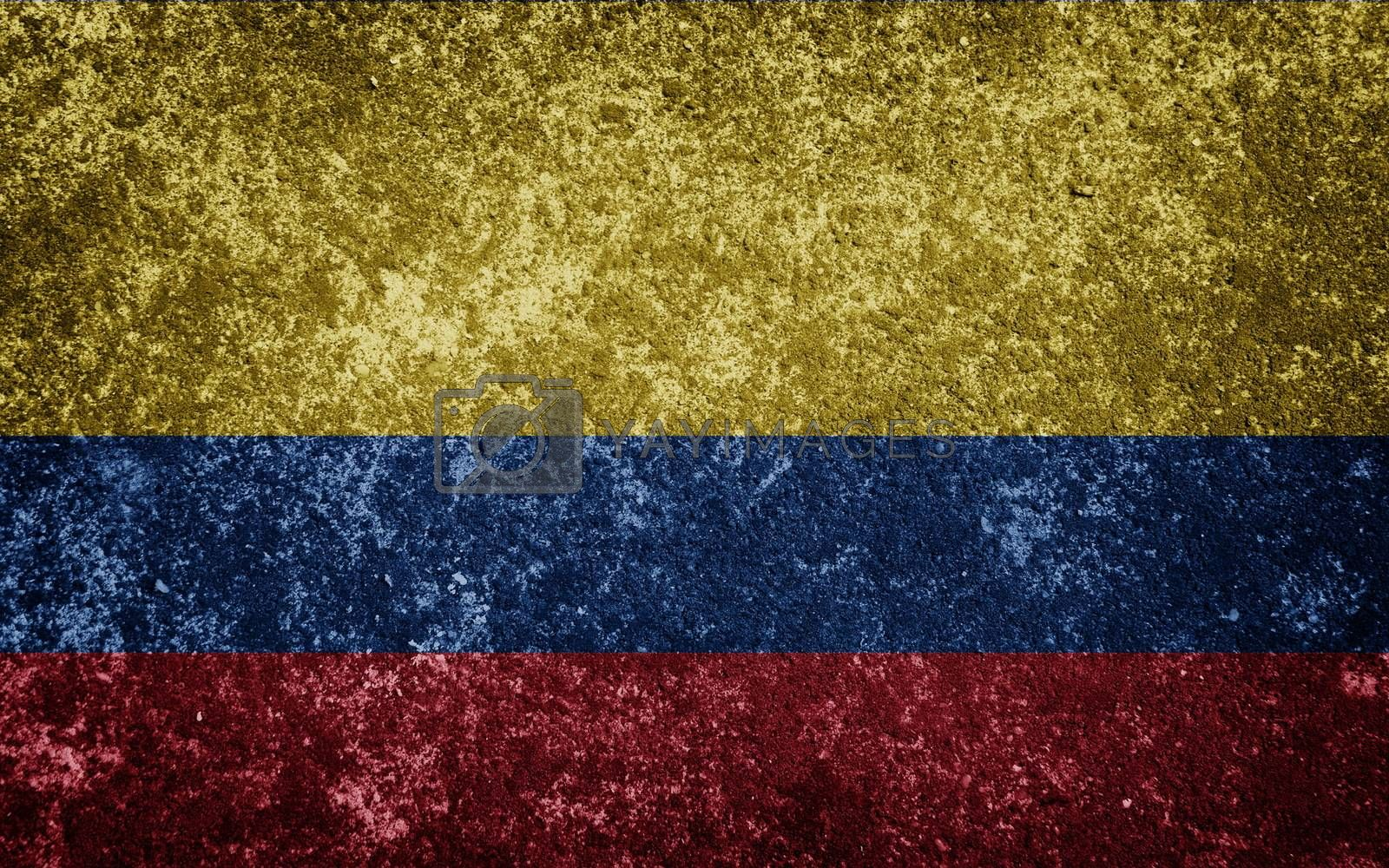 Colombia flag painted on concrete