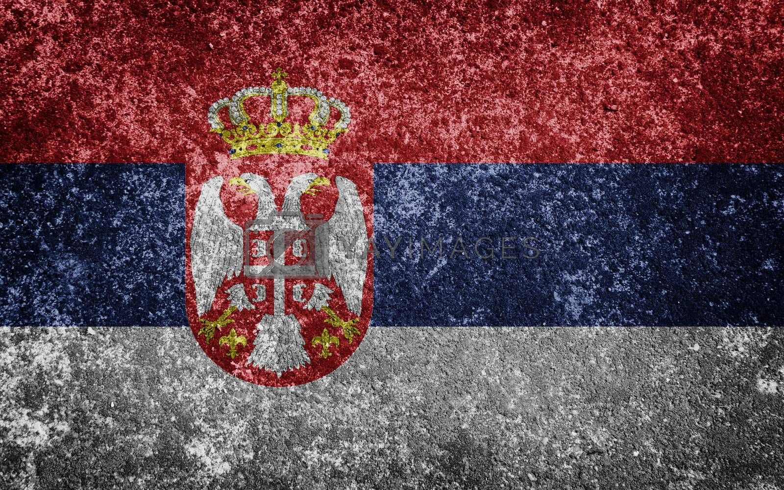 Serbia flag painted on concrete