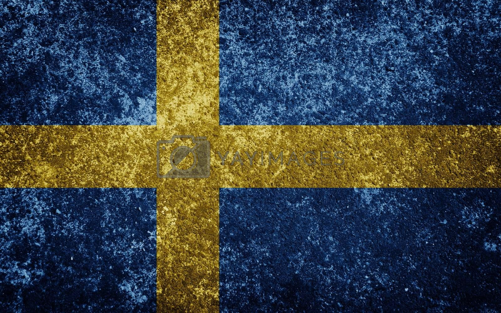 Sweden flag painted on concrete