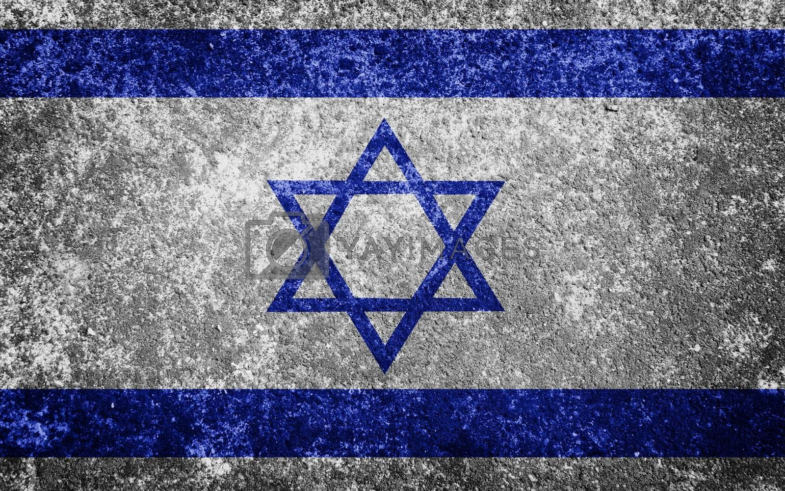 Israel flag painted on concrete