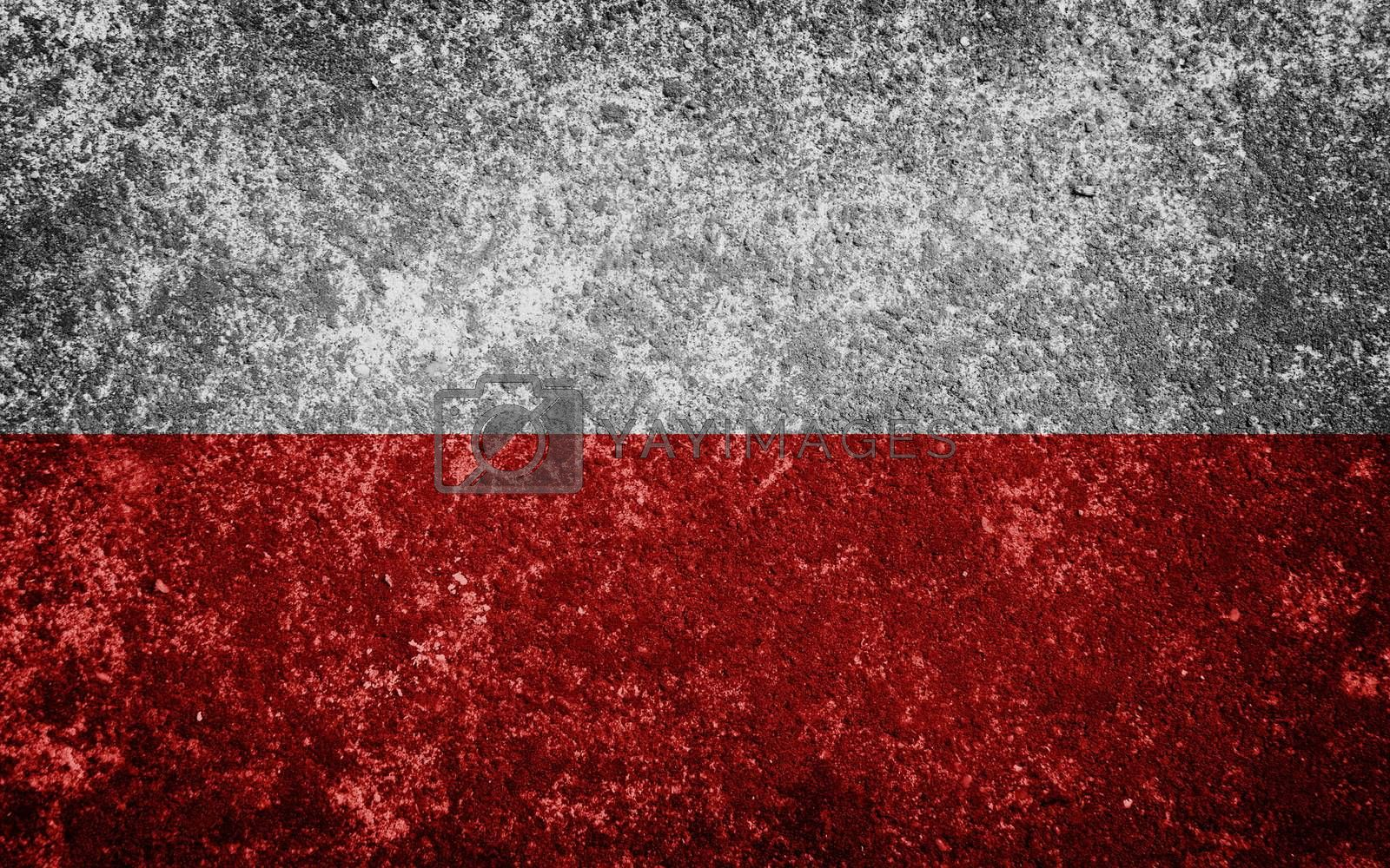 Poland flag painted on concrete