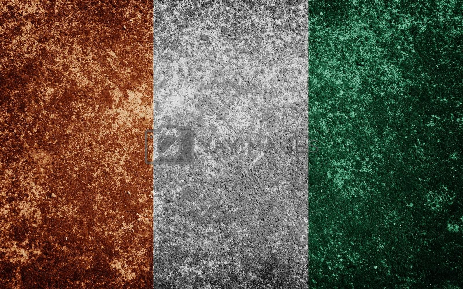Ivory Coast flag painted on concrete