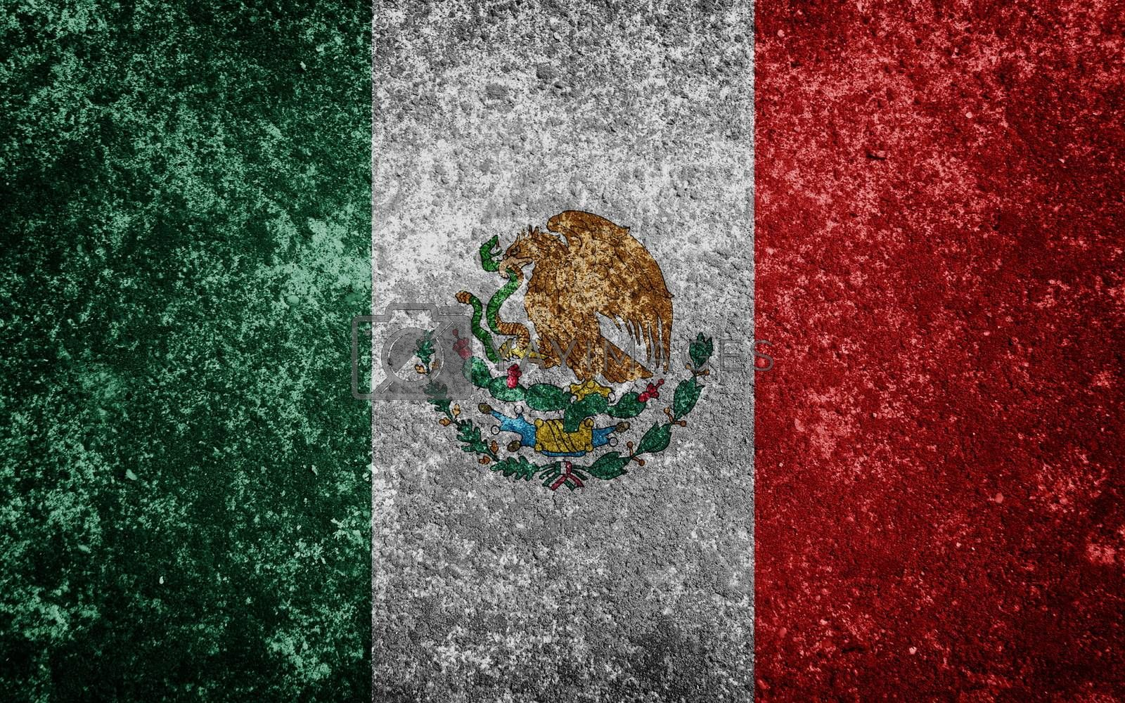 Mexico flag painted on concrete