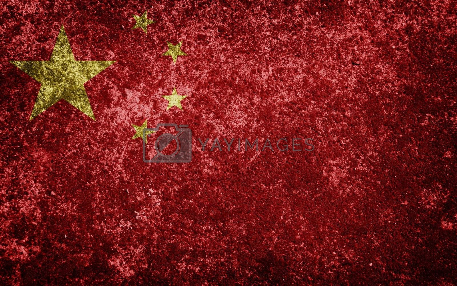 China flag painted on concrete