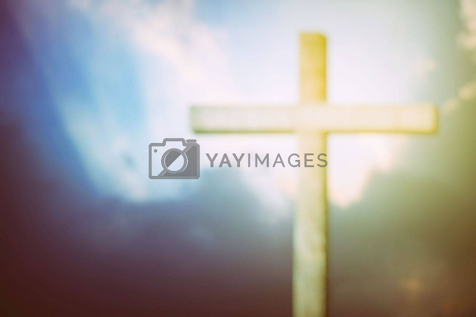 Blurred Christ Cross with Light Leak Background, Suitable for Religion Concept.
