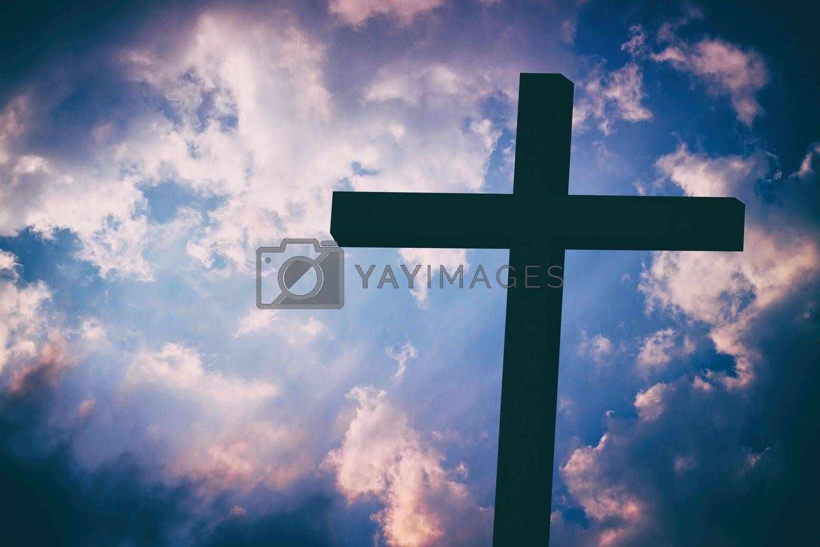 Christ Cross in Vintange Style Background, Suitable for Religion Concept.