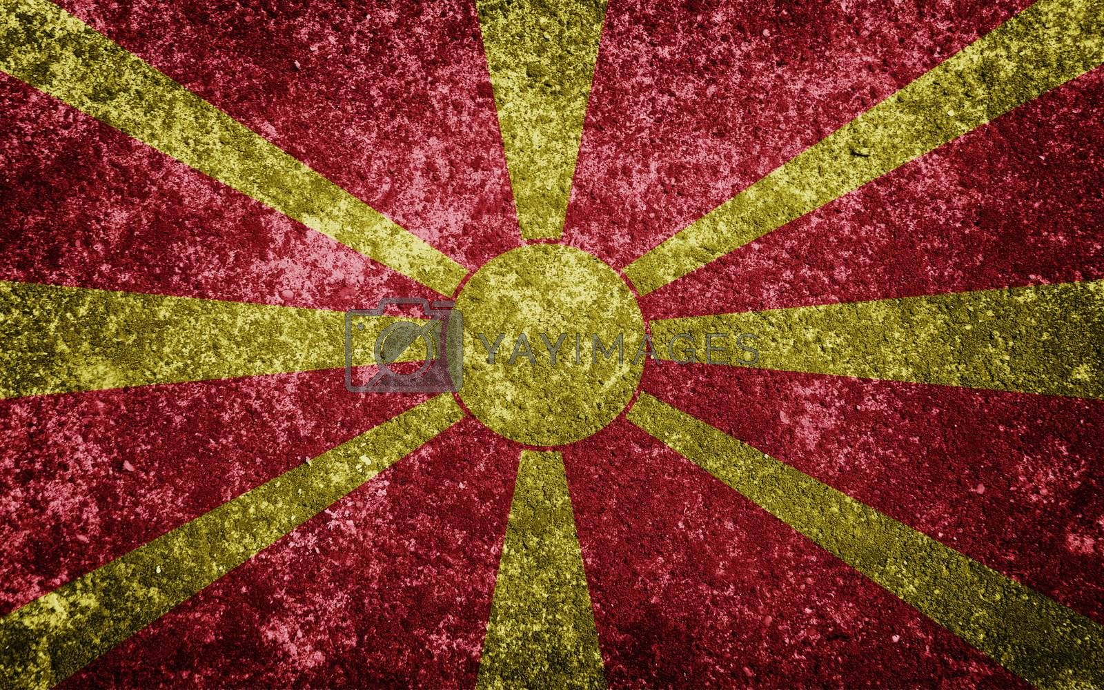 Macedonia flag painted on concrete
