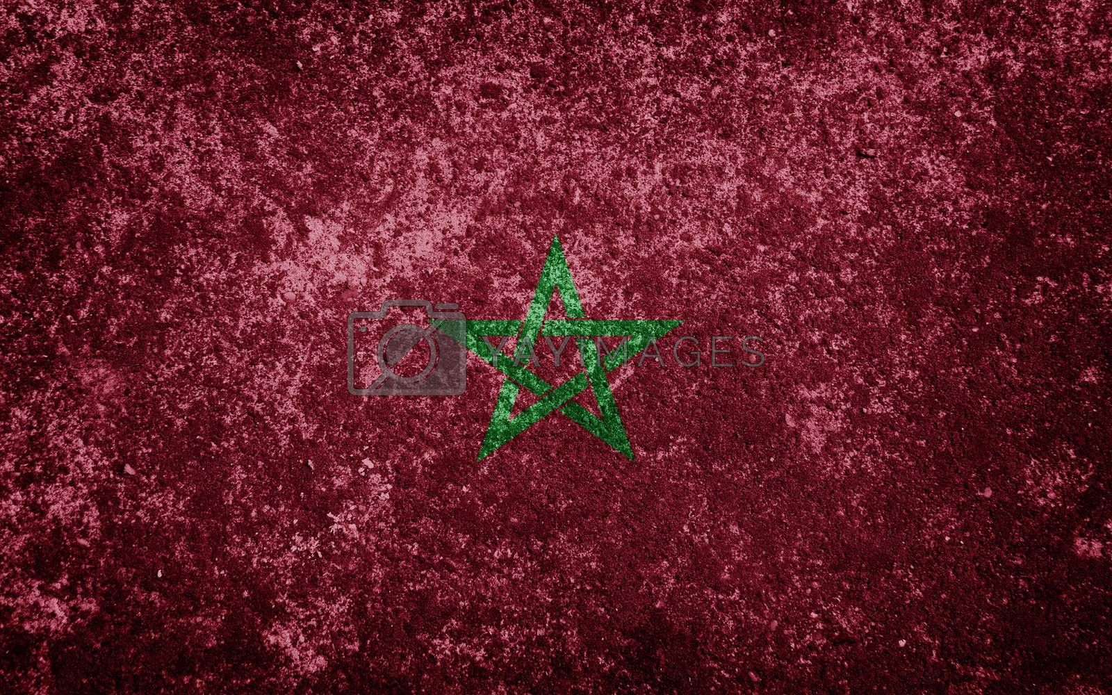 Morocco flag painted on concrete