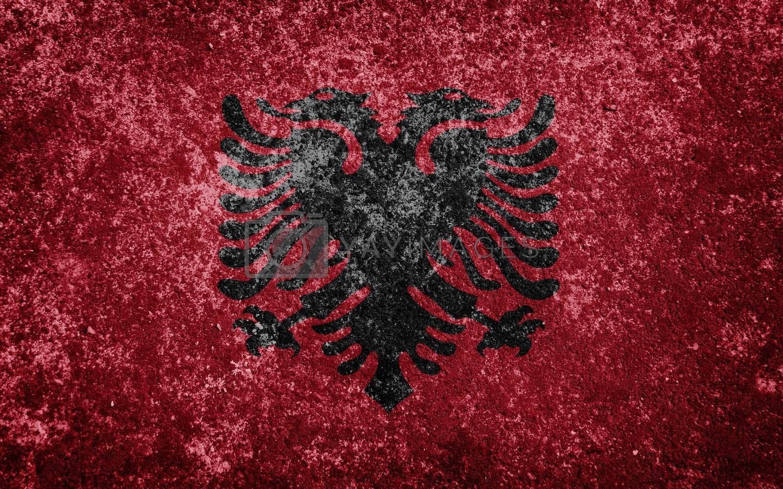albania flag painted on concete