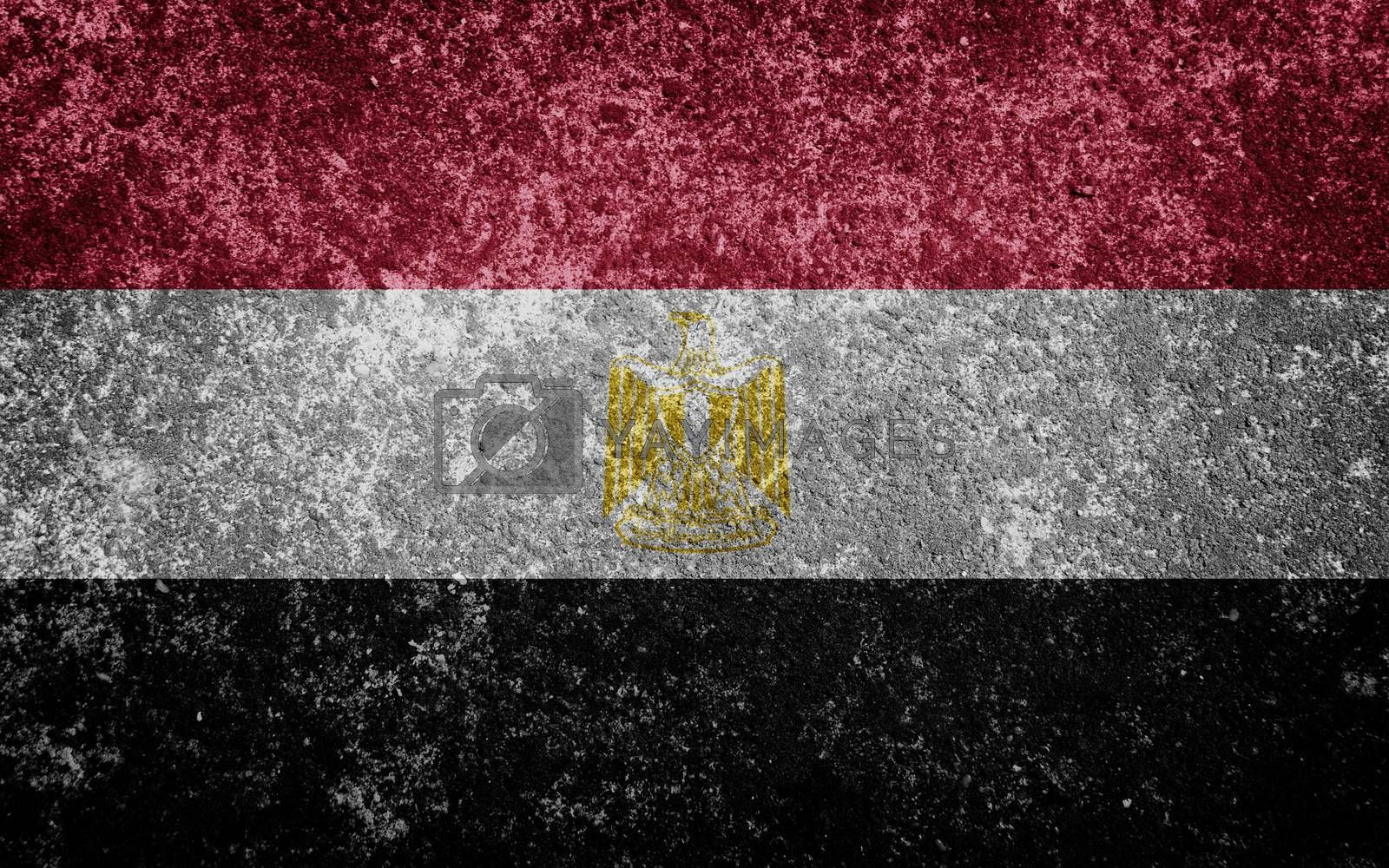 Egypt flag painted on concrete
