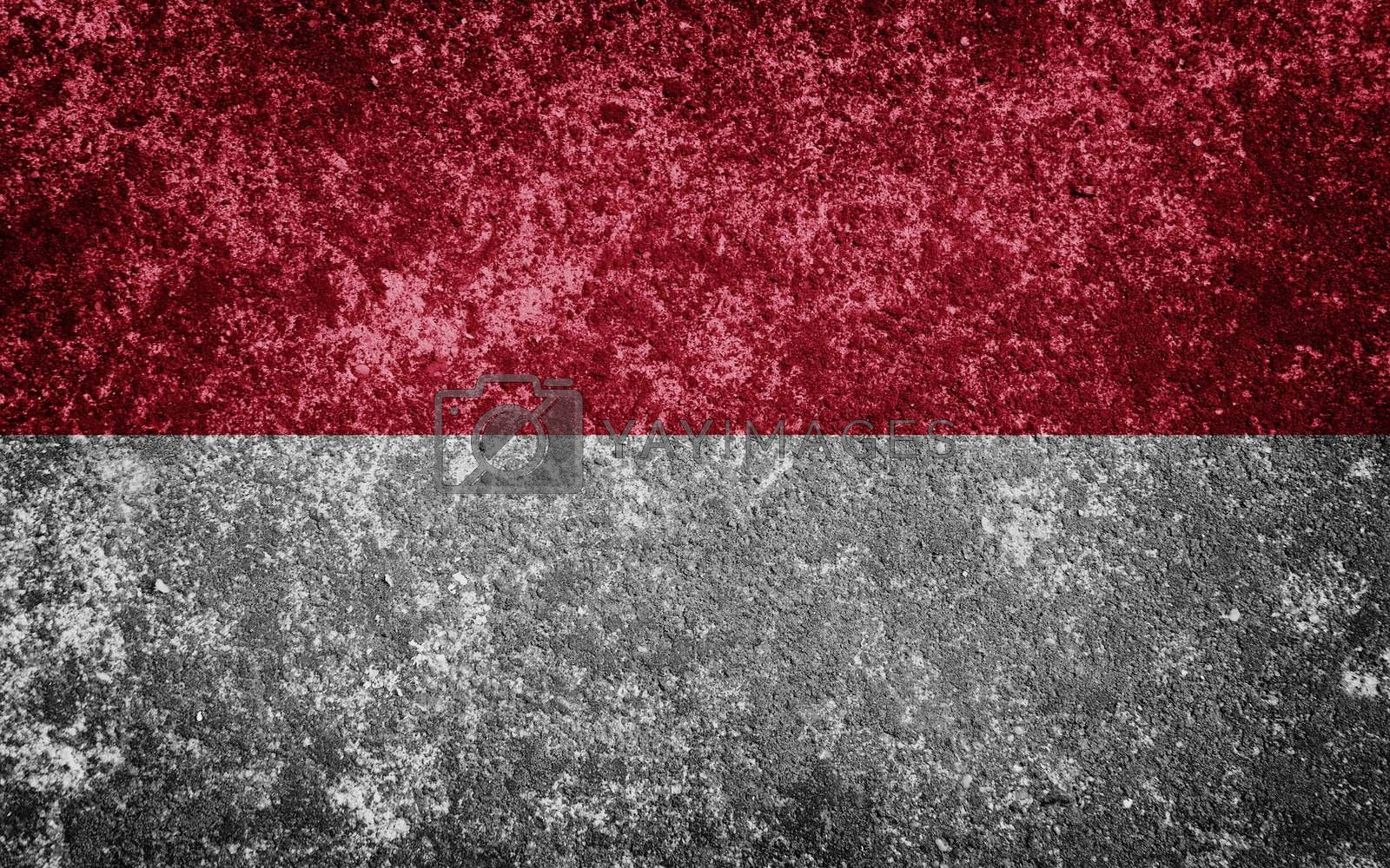 Indonesia flag painted on concrete