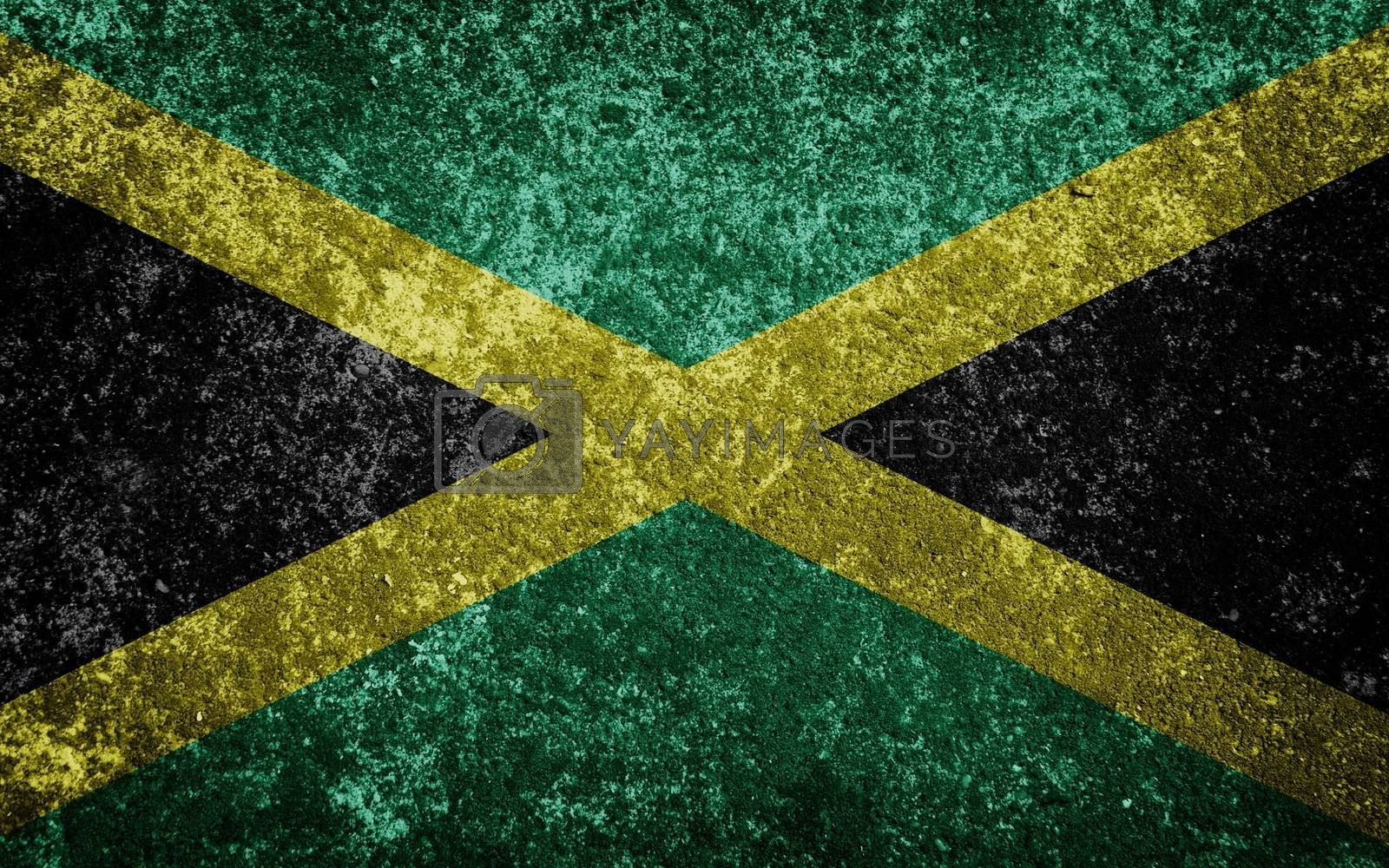 Jamaica flag painted on concrete