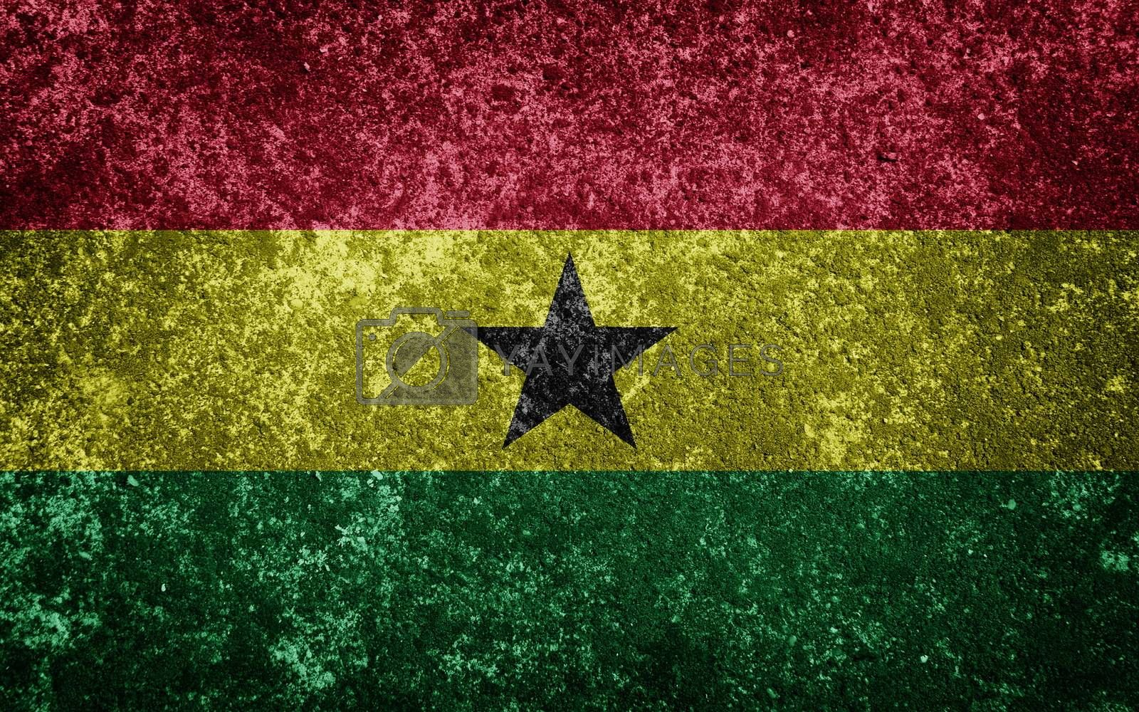 Ghana flag painted on concrete
