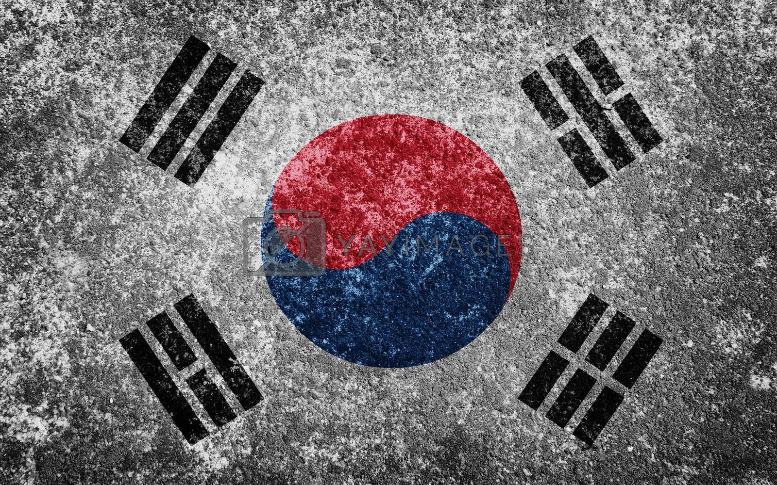 South Korea flag painted on concrete