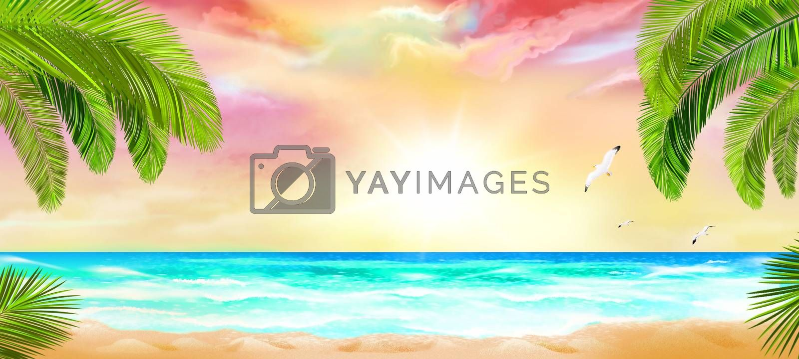 Tropical beach with palm trees and ocean view. Tropical seascape.