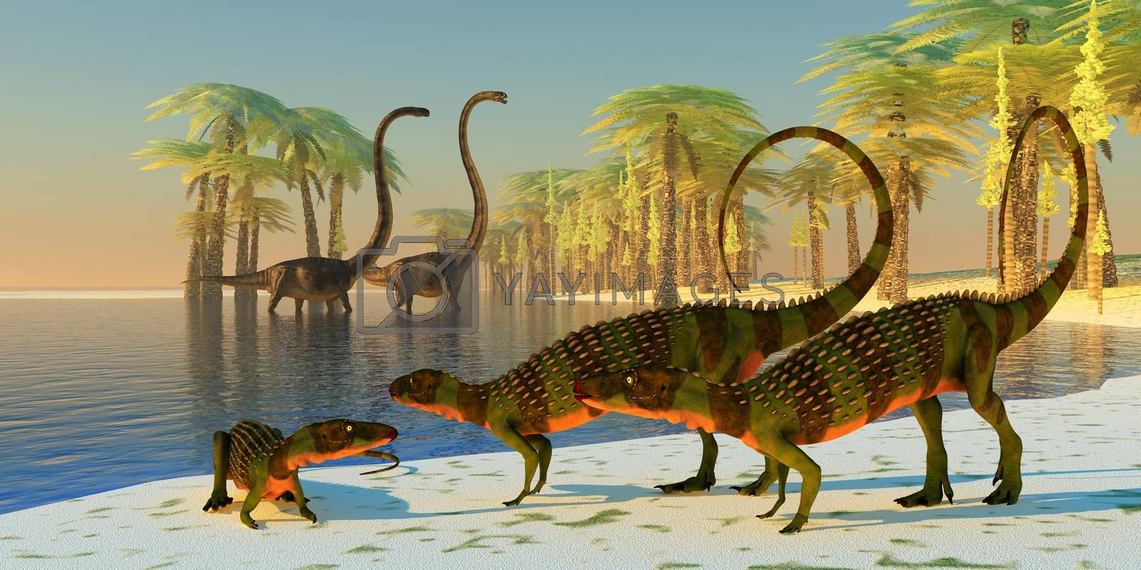 Three armored Scutellosaurus dinosaurs lounge around the edge of a pond with Omeisaurus dinosaurs coming to eat the foliage of nearby Silver Tree Ferns.