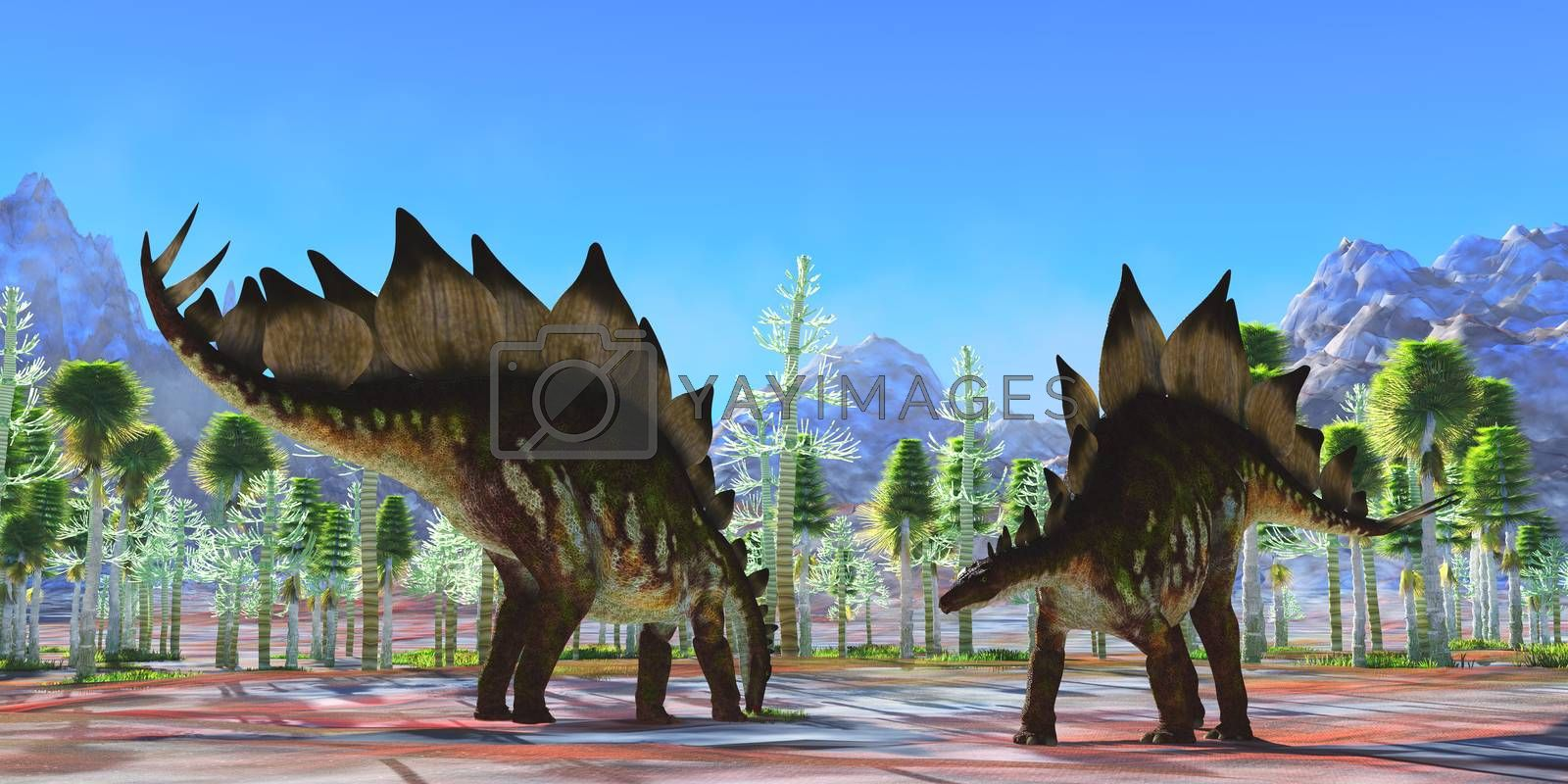 Two herbivorous armored dinosaurs eat in a Cycad forest during the Jurassic Period of North America.