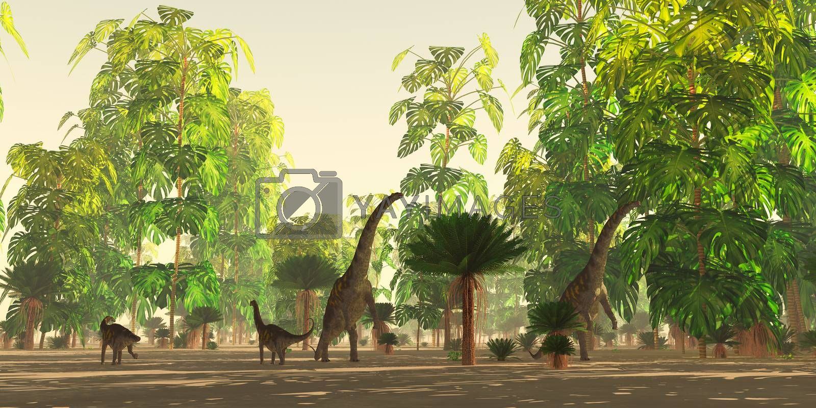 A Cycad and Monstera deliciosa forest in the Cretaceous Period provides forage for a herd of Argentinosaurus dinosaurs.