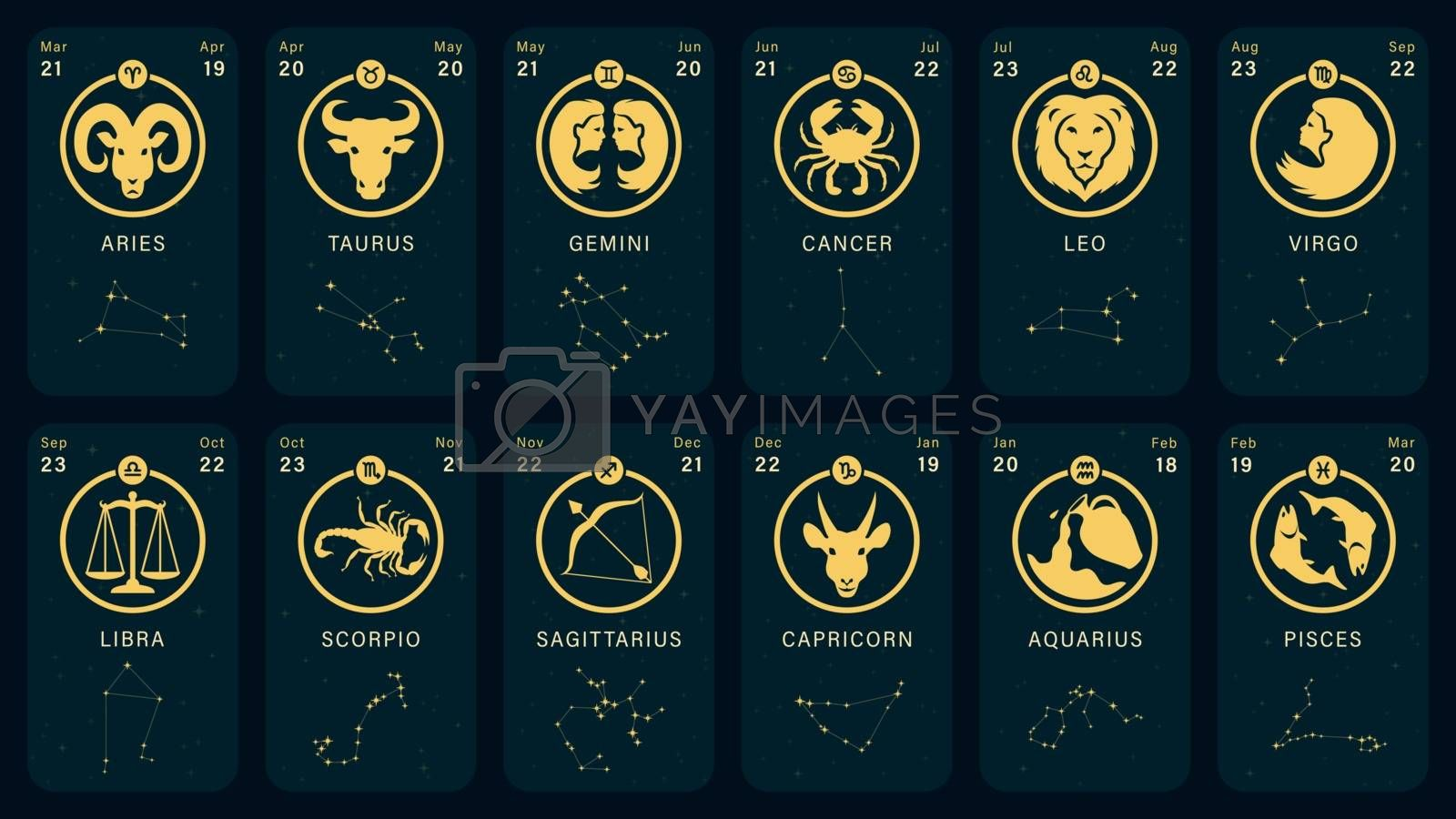 Detailed flat vector illustration of zodiac horoscope cards with icons, dates, constellations and symbols.