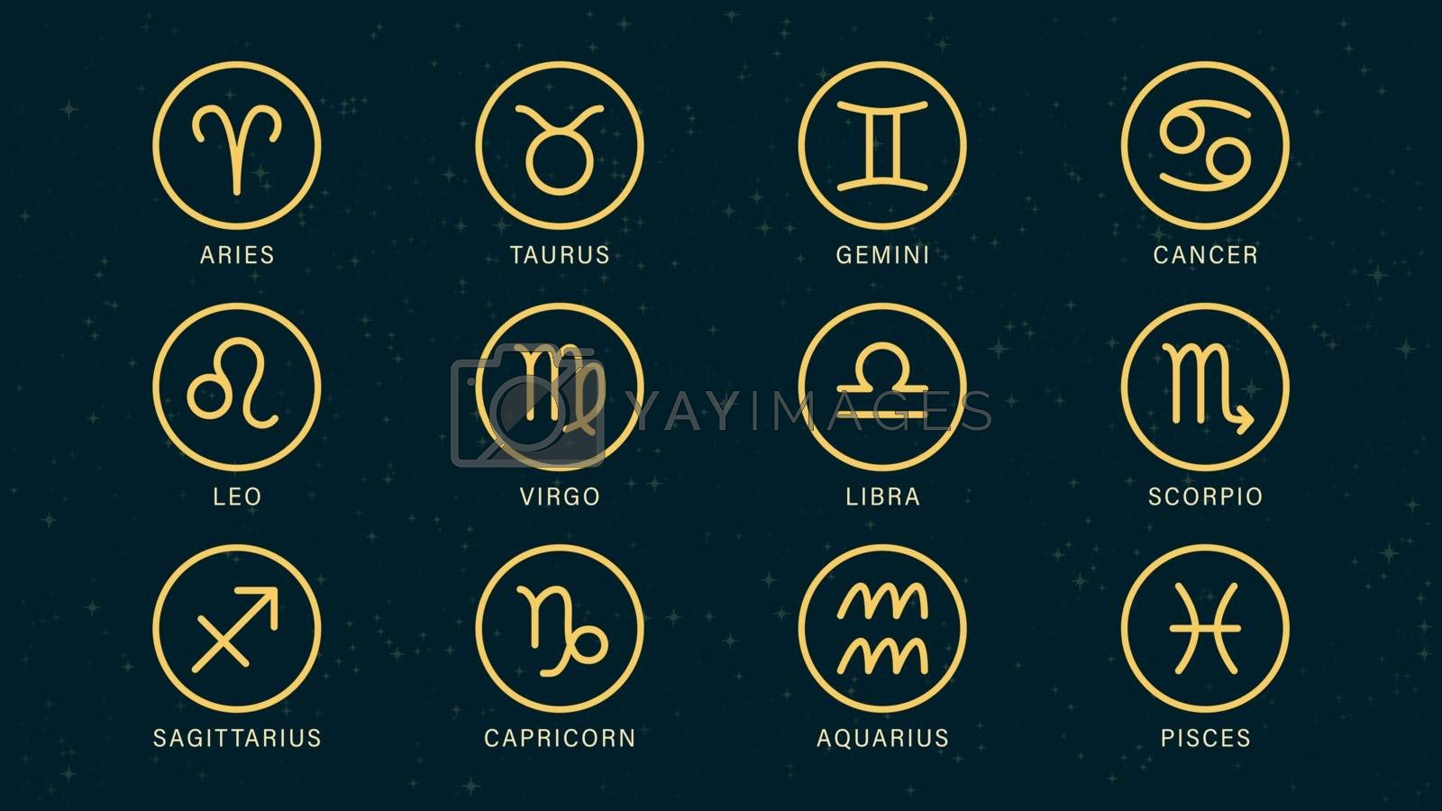 Detailed flat vector set of the zodiac horoscope signs as symbols on top of a dimmed semi-accurate star map.