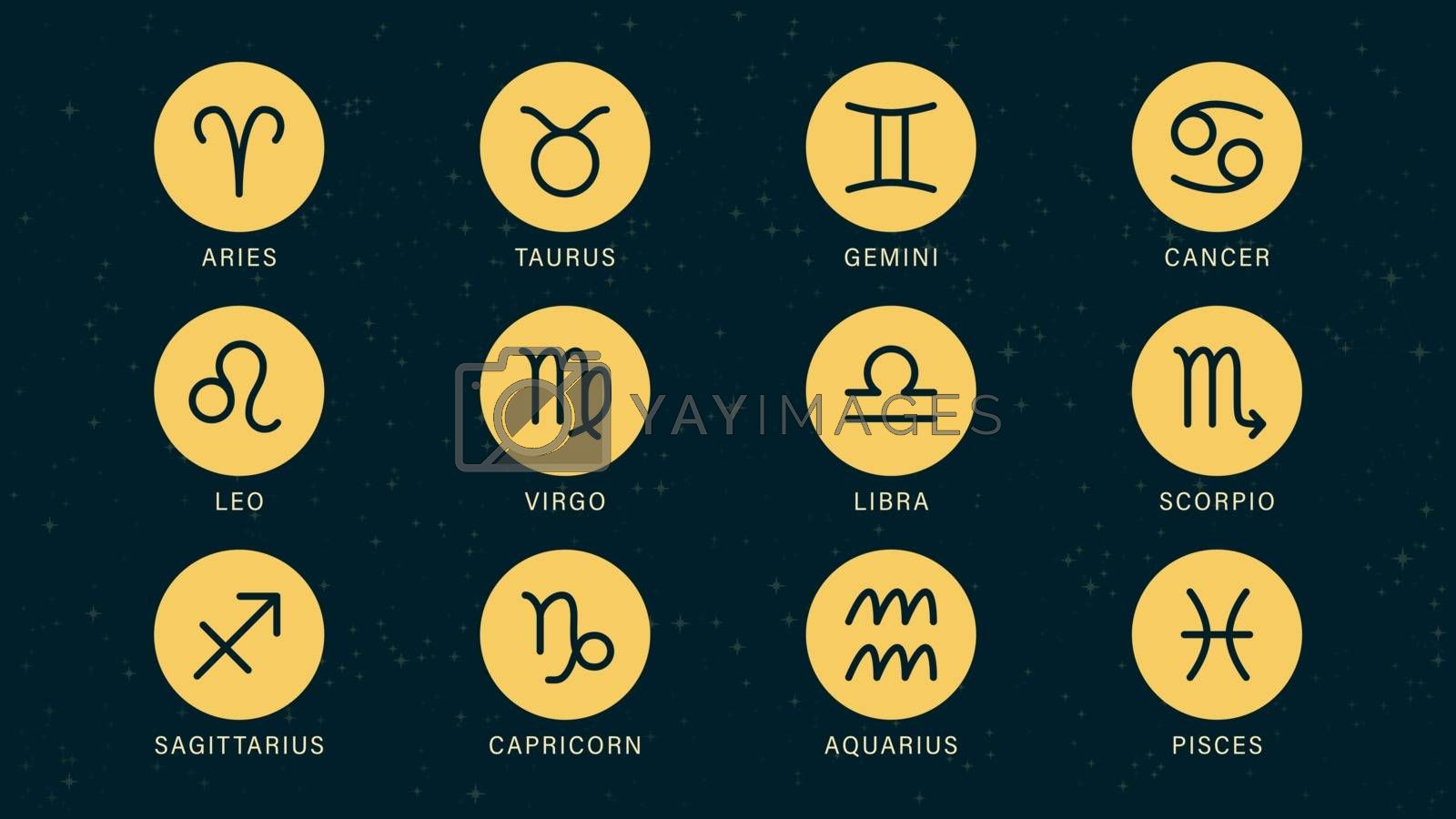 Detailed flat vector set of the zodiac horoscope signs as round symbols on top of a dimmed semi-accurate star map.