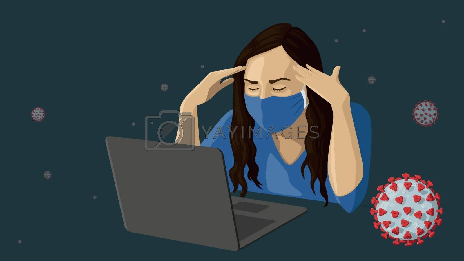 Detailed flat vector illustration of a woman with a face mask working in front of a laptop amidst the COVID-19 outbreak.