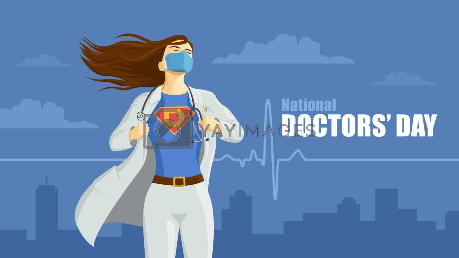Detailed flat vector illustration of a doctor revealing her superhero emblem underneath her coat. National Doctors' Day.