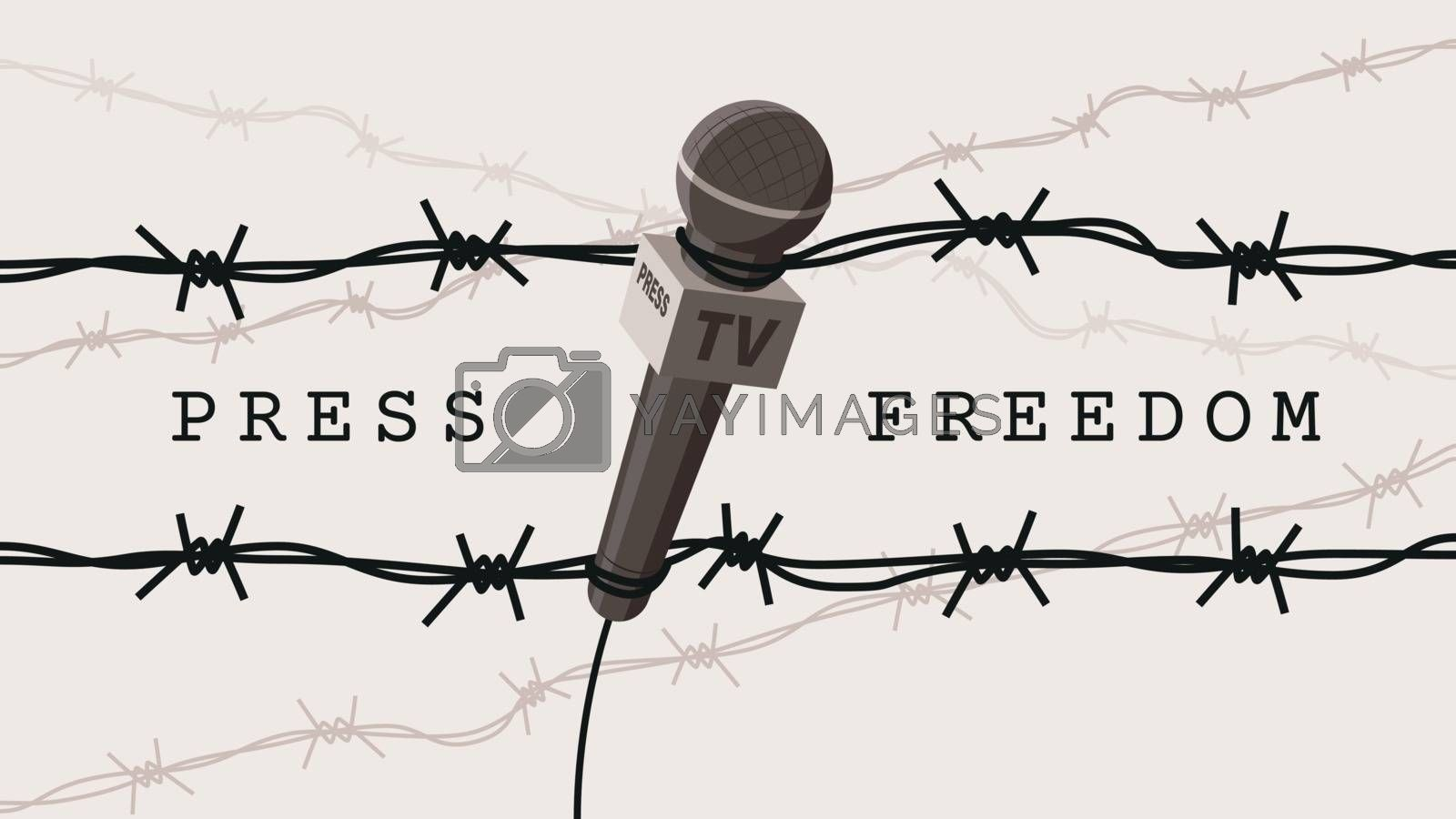 Detailed flat vector illustration of a microphone tangled in barbed wires. World Press Freedom Day. White background.