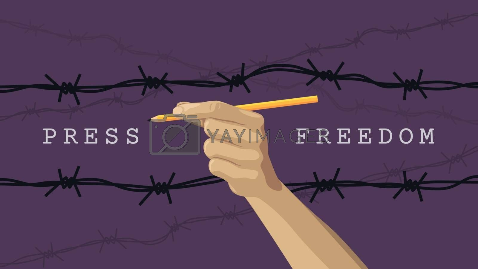 Detailed flat vector illustration of a hand holding a pen between layers of barbed wires. Purple background.