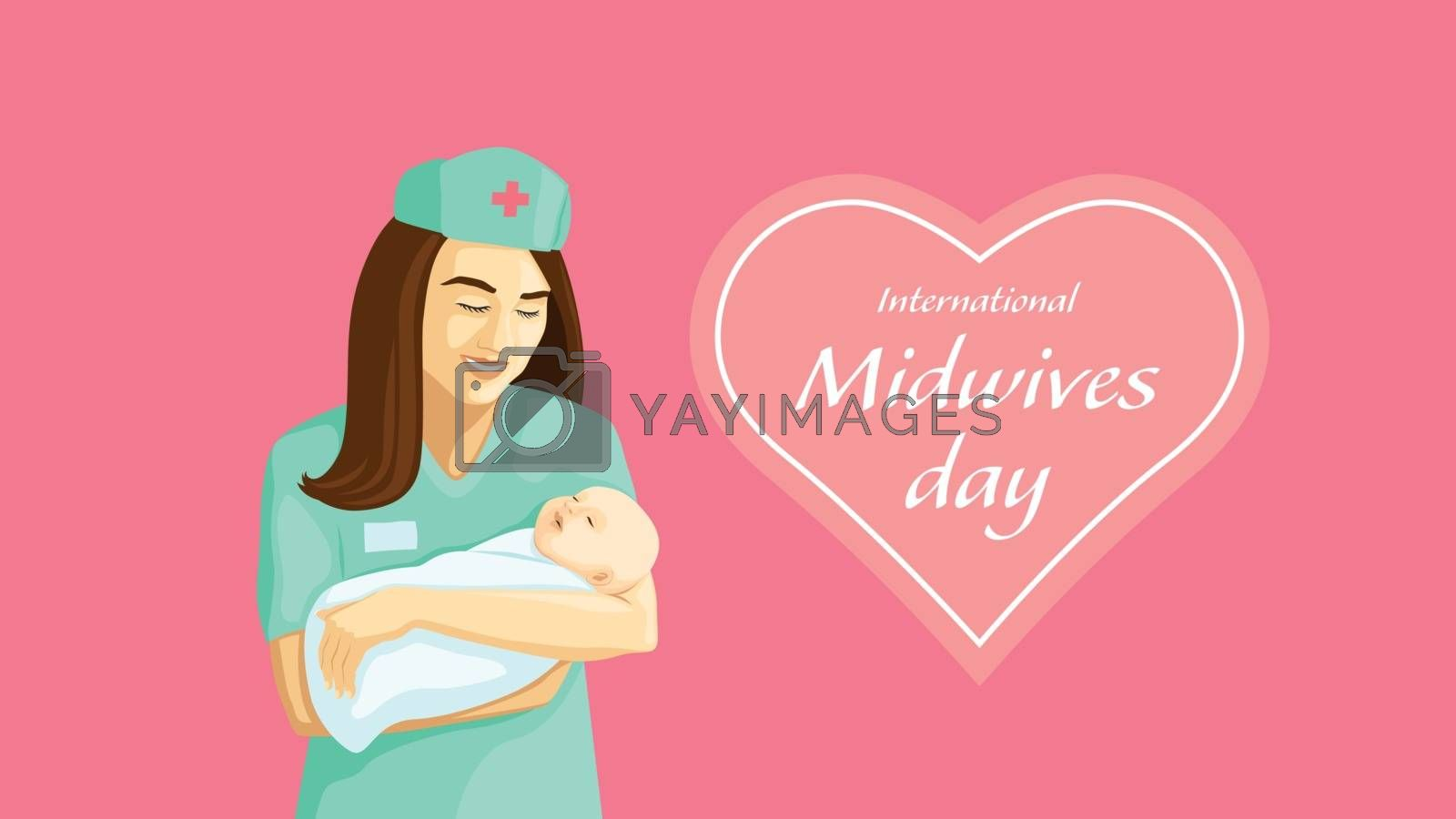Detailed flat vector illustration of a midwife holding a swaddled baby in her arms. International Midwives Day.