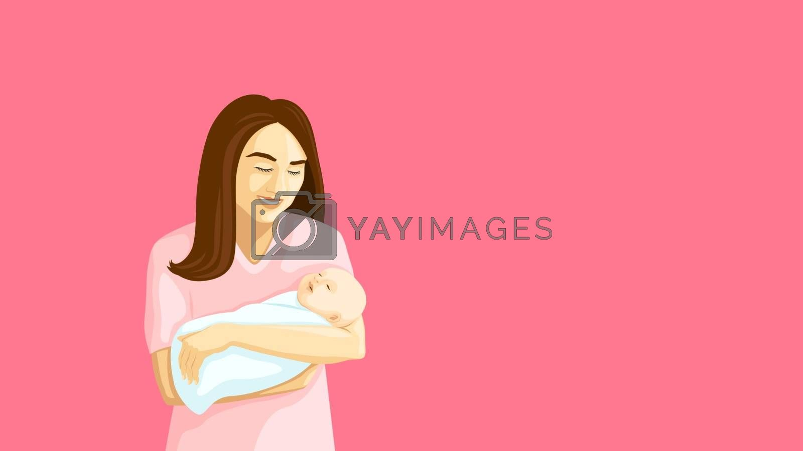 Detailed flat vector illustration of a mother holding a swaddled baby in her arms.