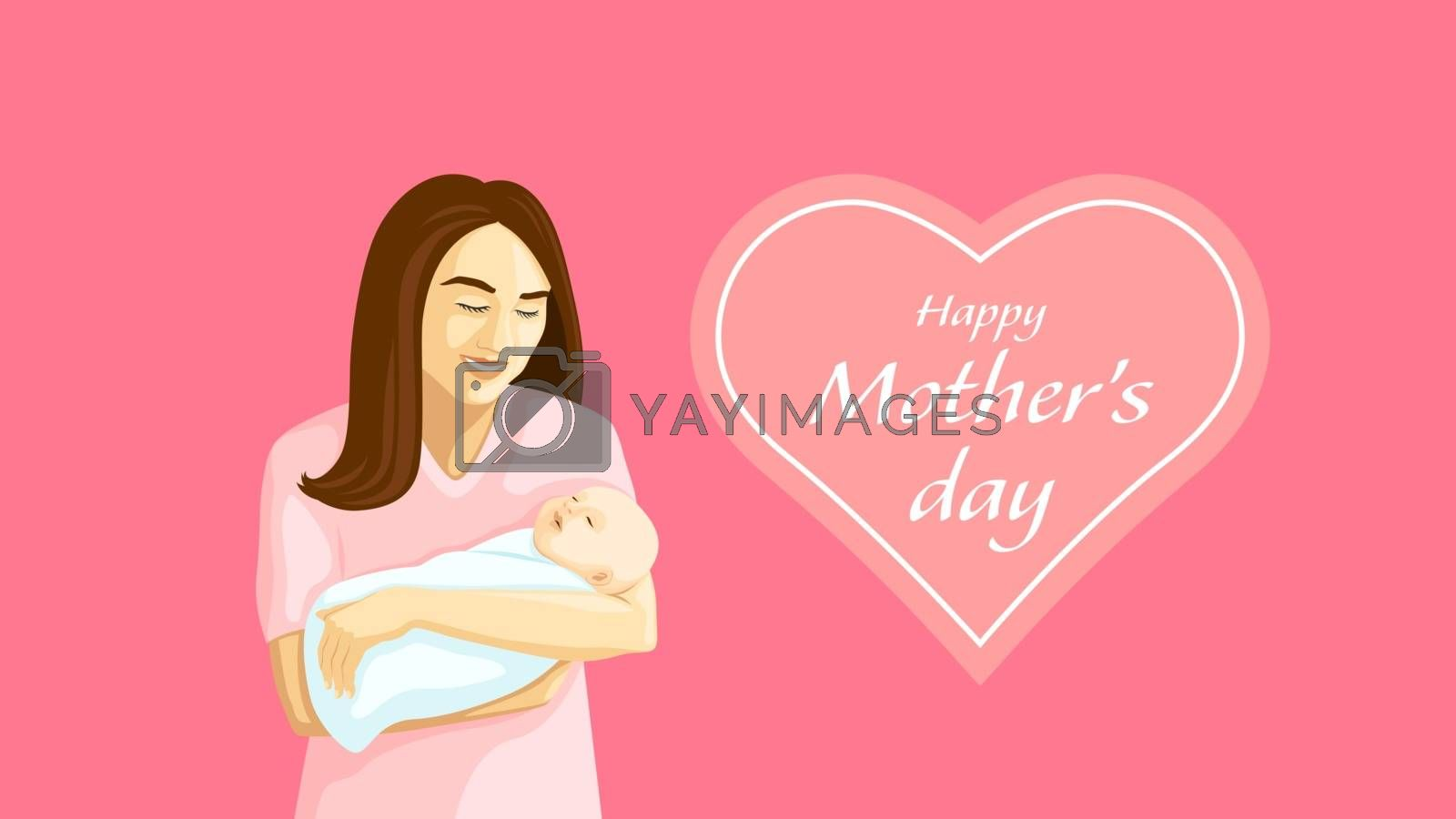 Mother holding a swaddled baby in her arms on Mother's Day by David_Lugasi